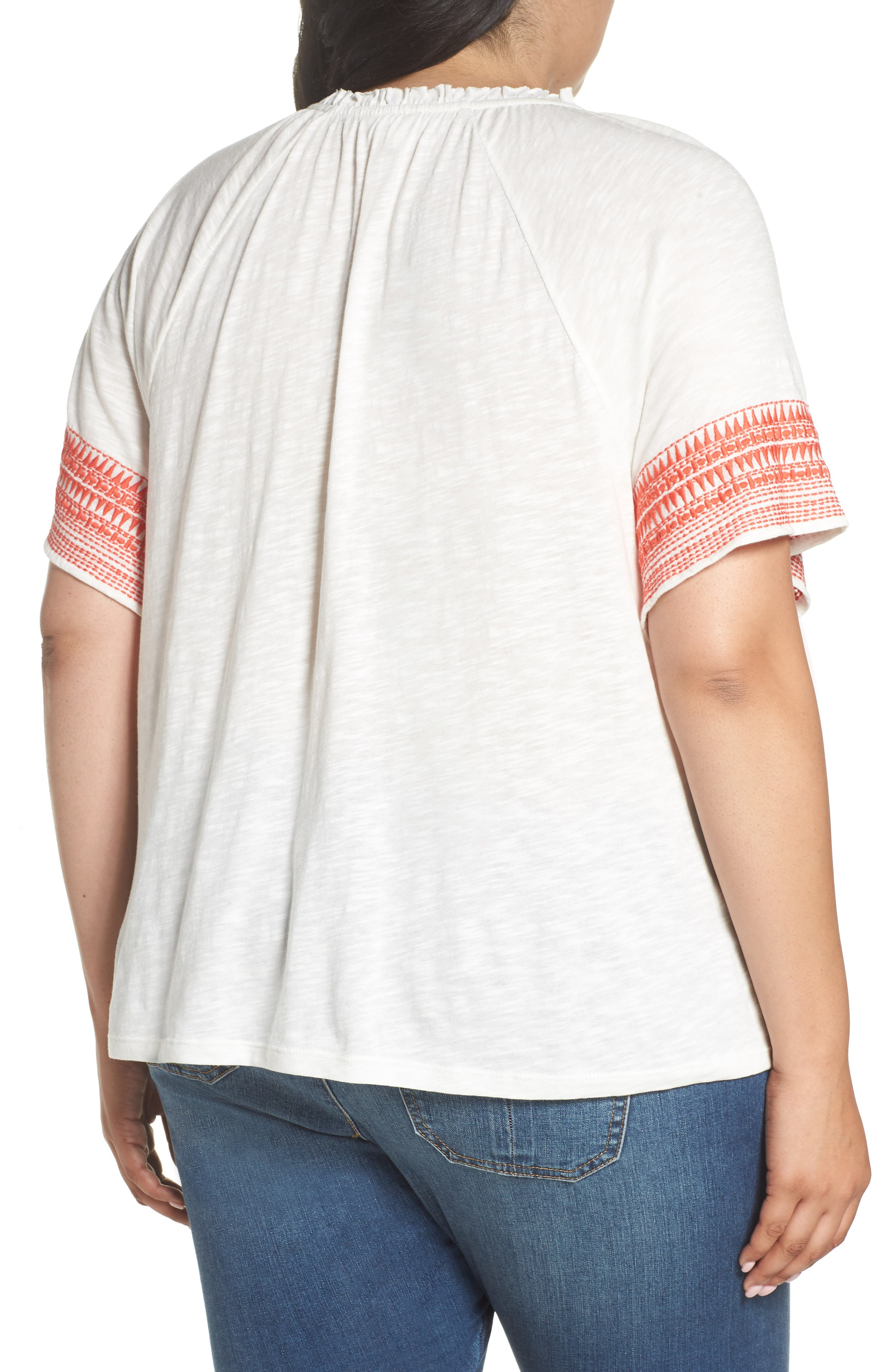 Embroidered Border Peasant Top,                             Alternate thumbnail 2, color,                             Ivory- Coral Dita