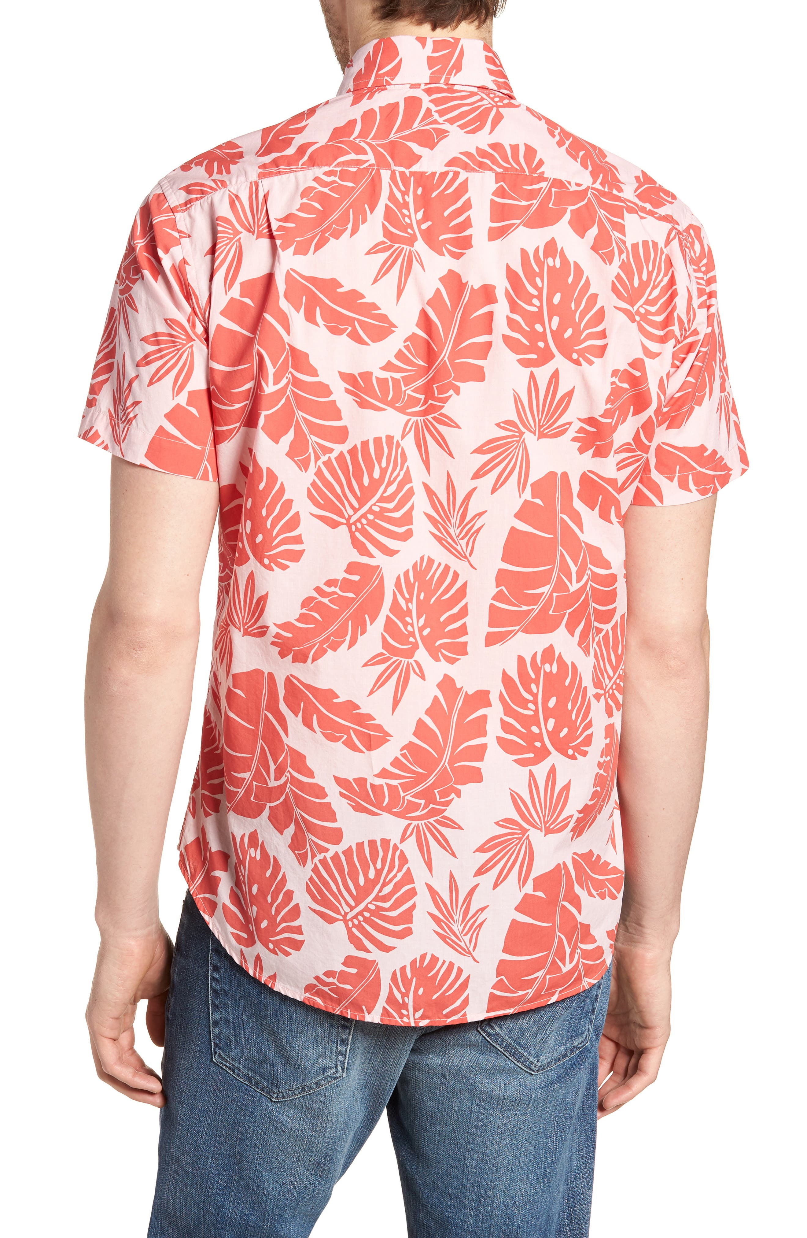Riviera Slim Fit Palm Print Sport Shirt,                             Alternate thumbnail 5, color,                             Palm Scatter - Coral Fan