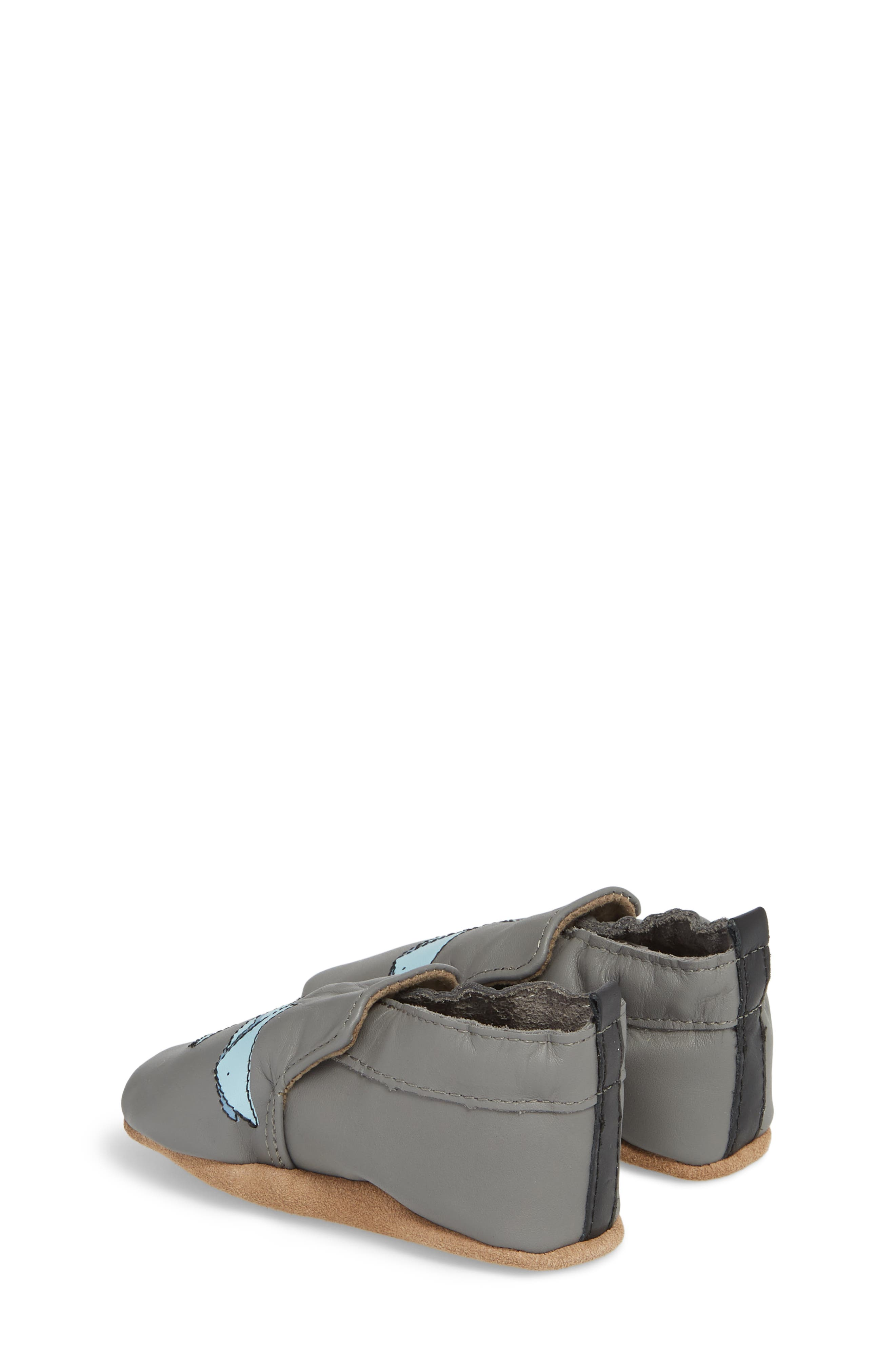 Sharktastic Moccasin Crib Shoe,                             Alternate thumbnail 2, color,                             Grey