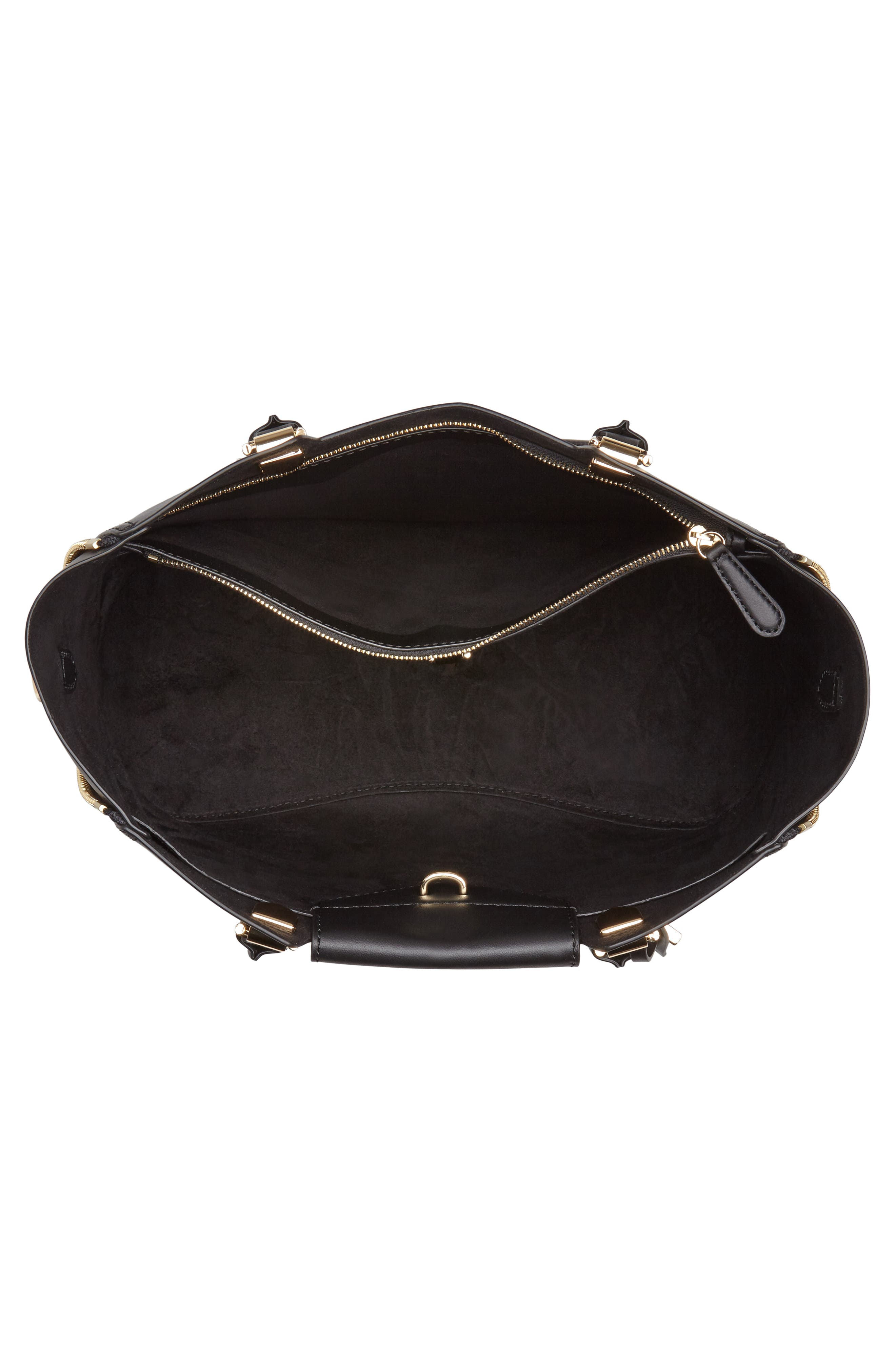 MICHAEL Michael Kors Blakely Leather Satchel,                             Alternate thumbnail 4, color,                             Black