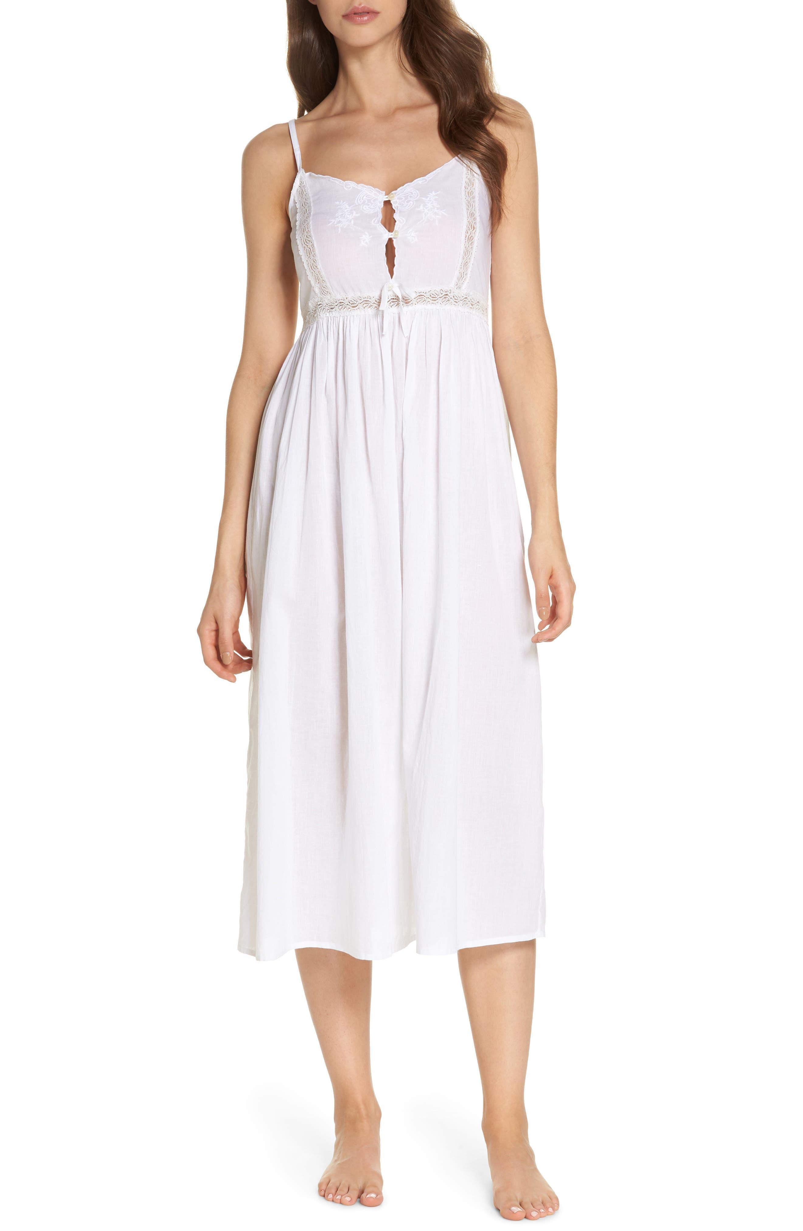 Lace Trim Nightgown,                         Main,                         color, White