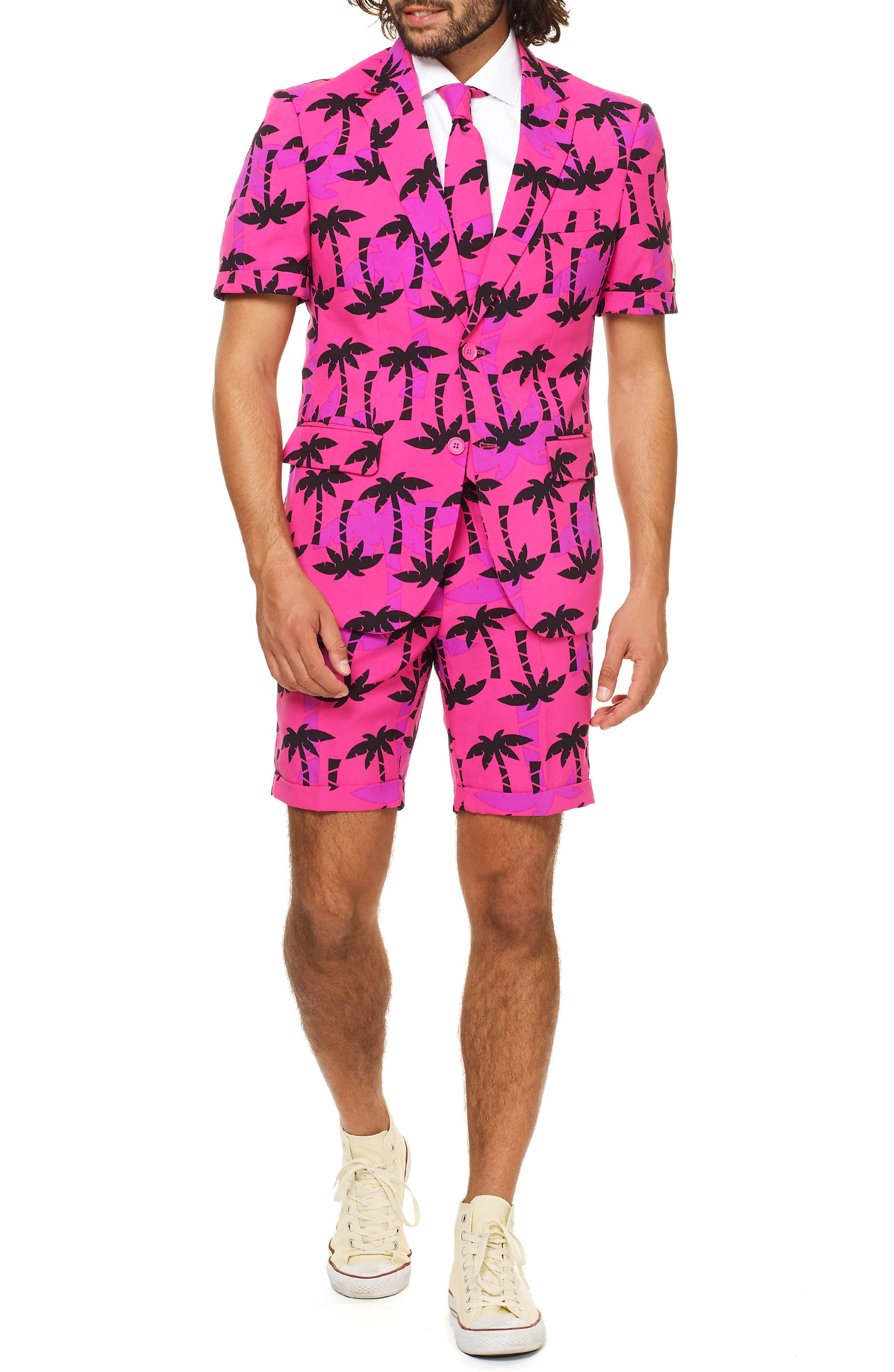 OppoSuits Summer Tropicool Trim Fit Two-Piece Short Suit with Tie