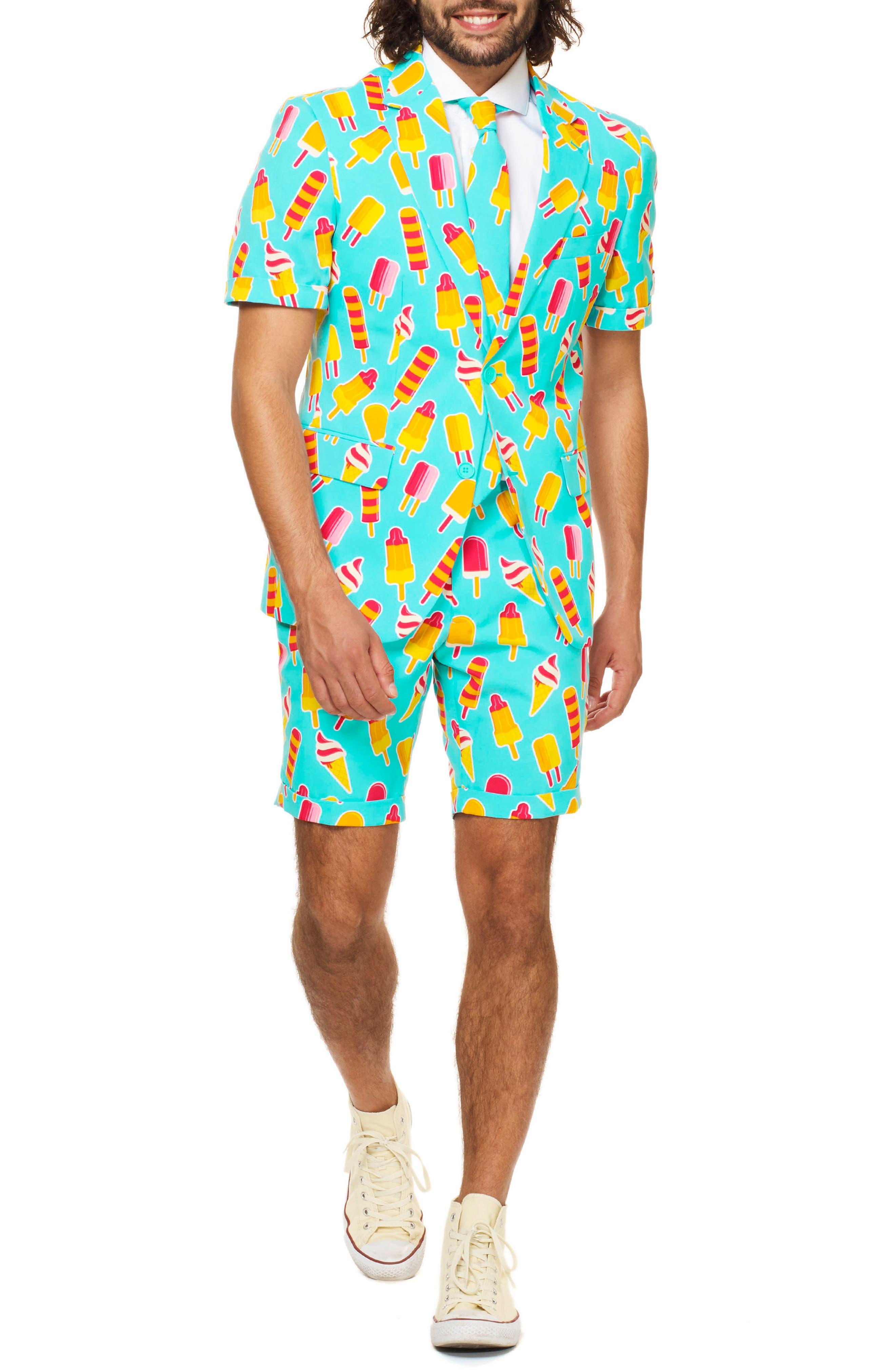 Summer Cool Cones Trim Fit Two-Piece Short Suit with Tie,                         Main,                         color, Blue