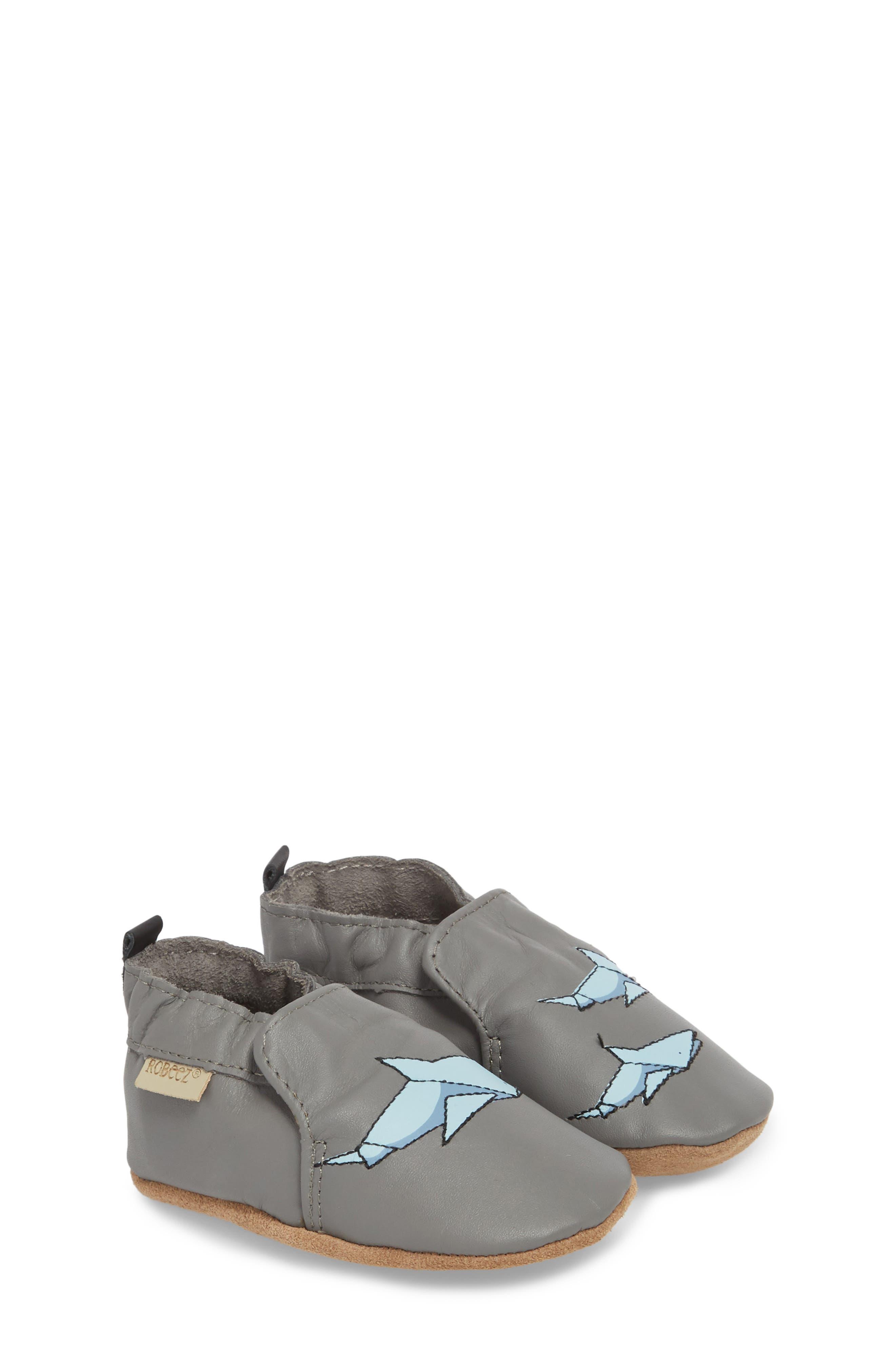 Sharktastic Moccasin Crib Shoe,                             Alternate thumbnail 3, color,                             Grey