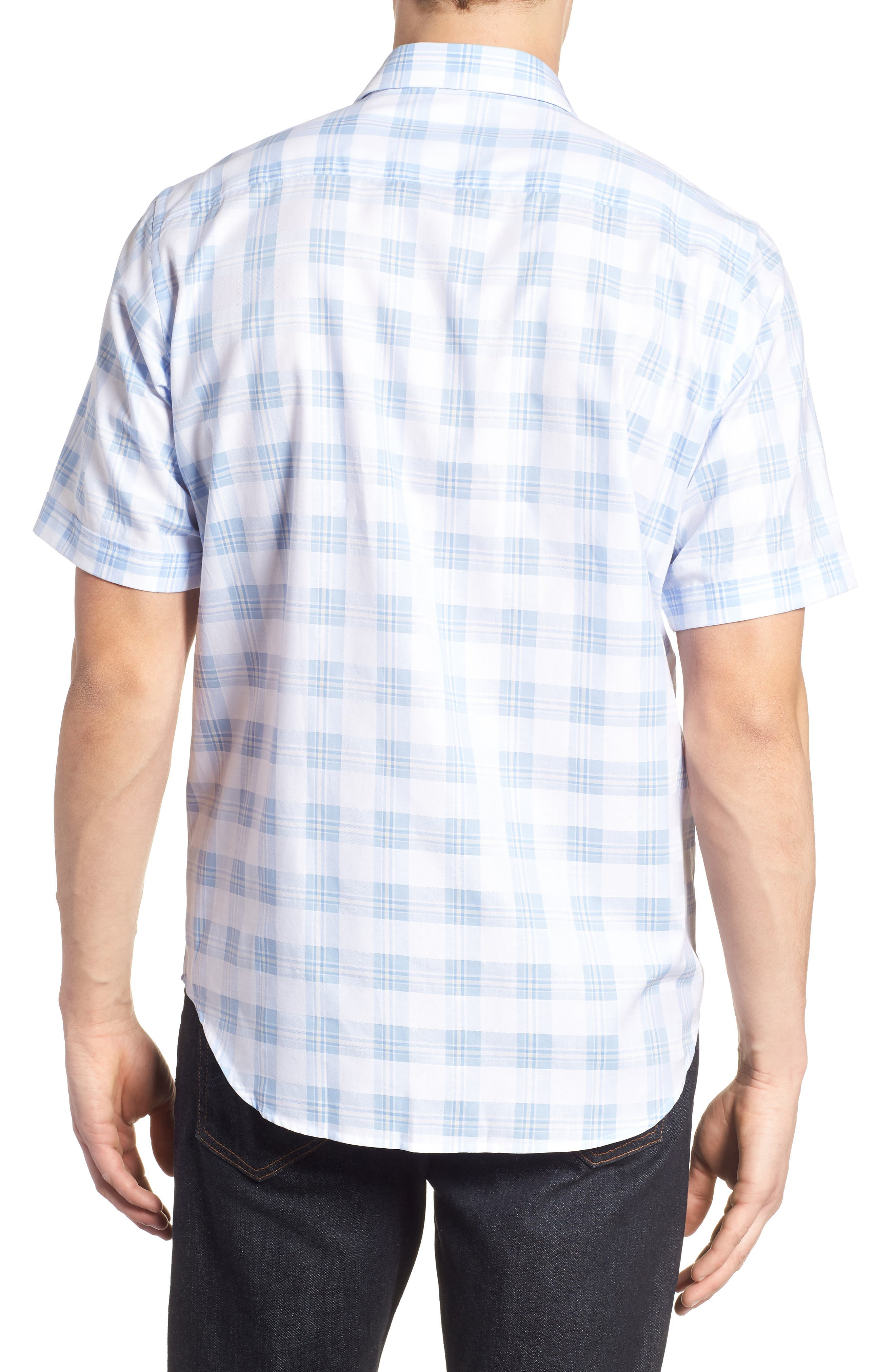 Classic Fit Tartan Check Sport Shirt,                             Alternate thumbnail 2, color,                             Sky
