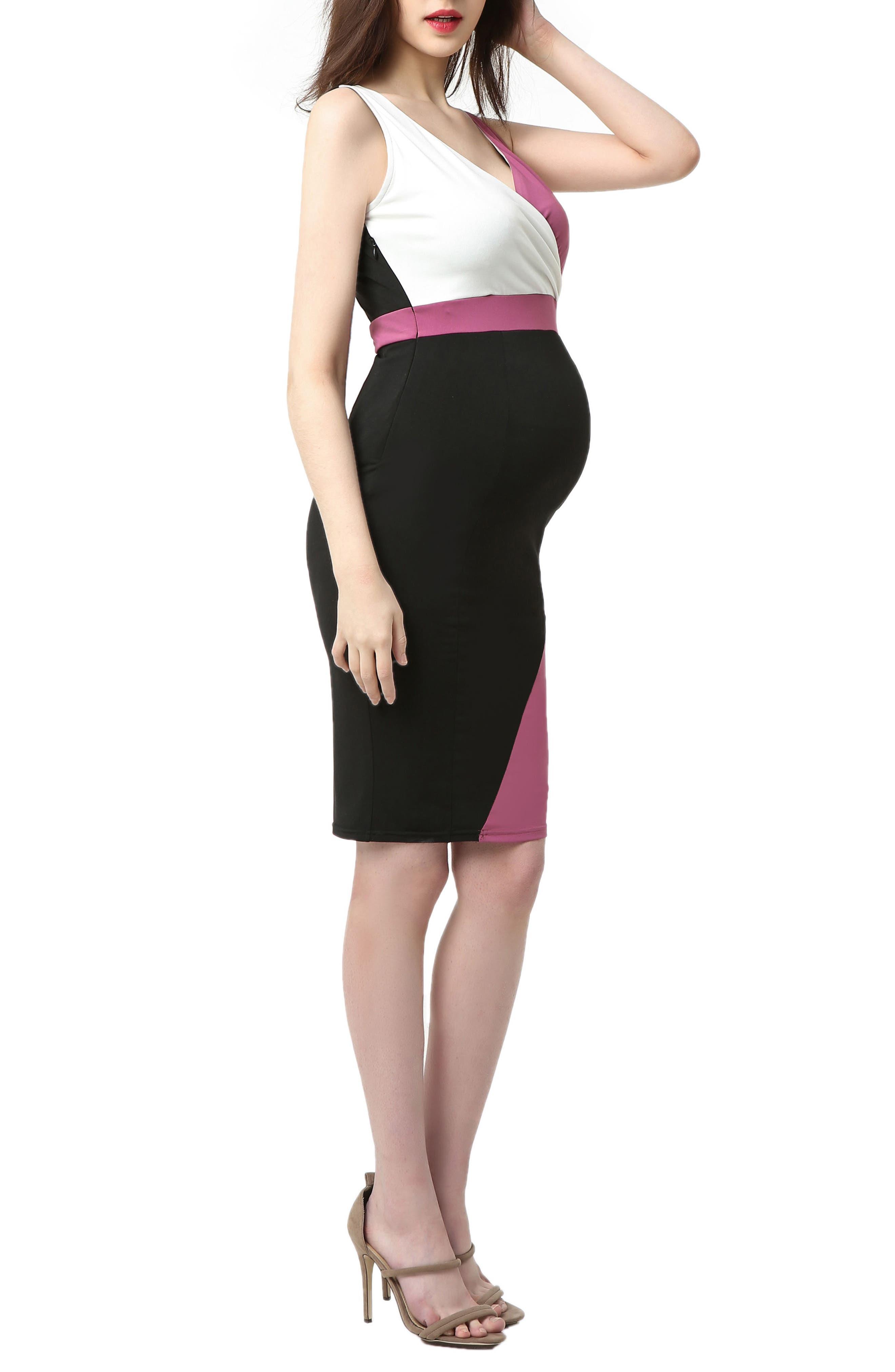 Sophia Colorblock Body-Con Maternity Dress,                             Alternate thumbnail 4, color,                             Black/ Rose