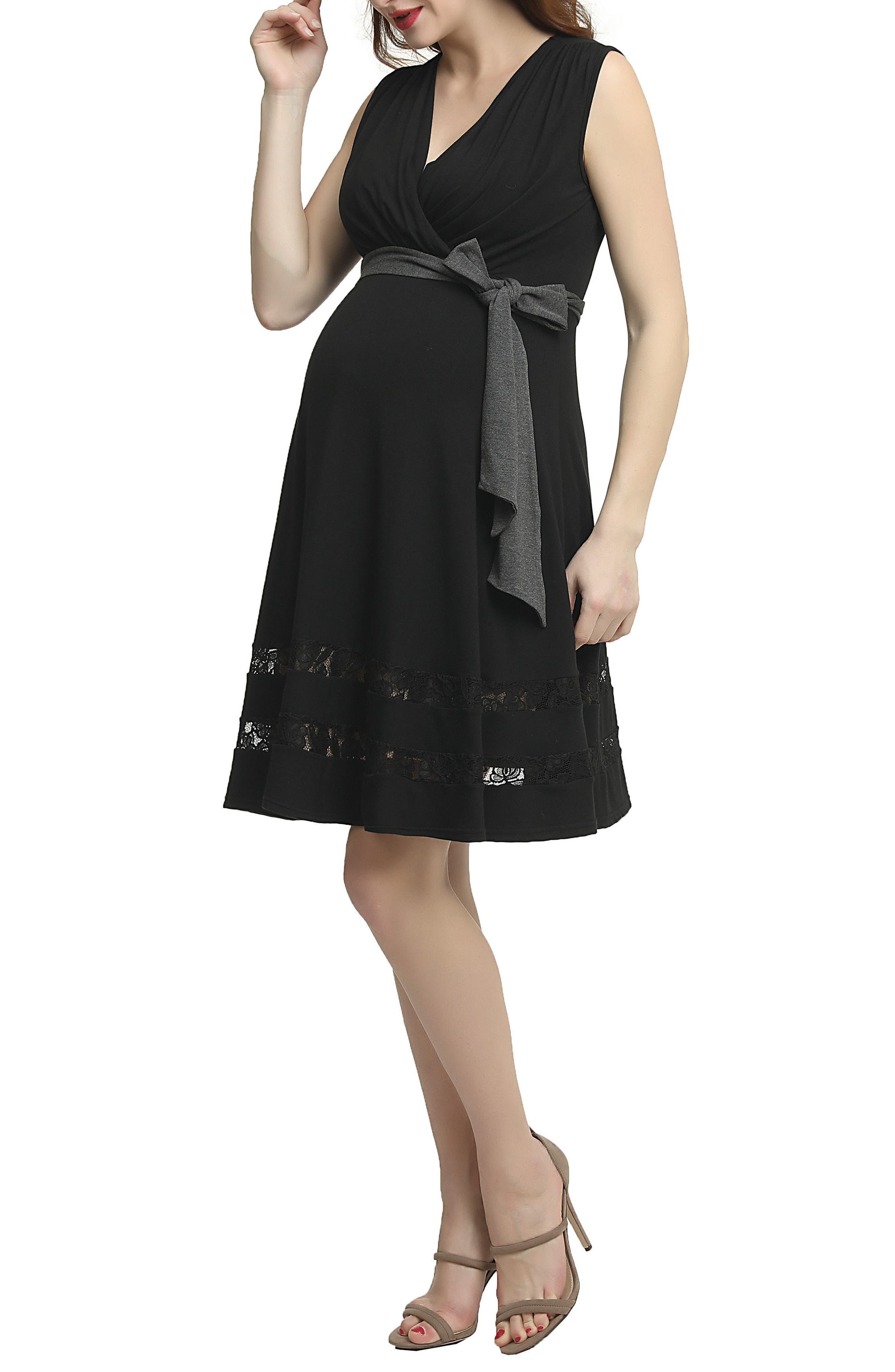 Marji Lace Accent Babydoll Maternity/Nursing Dress,                             Alternate thumbnail 3, color,                             Black