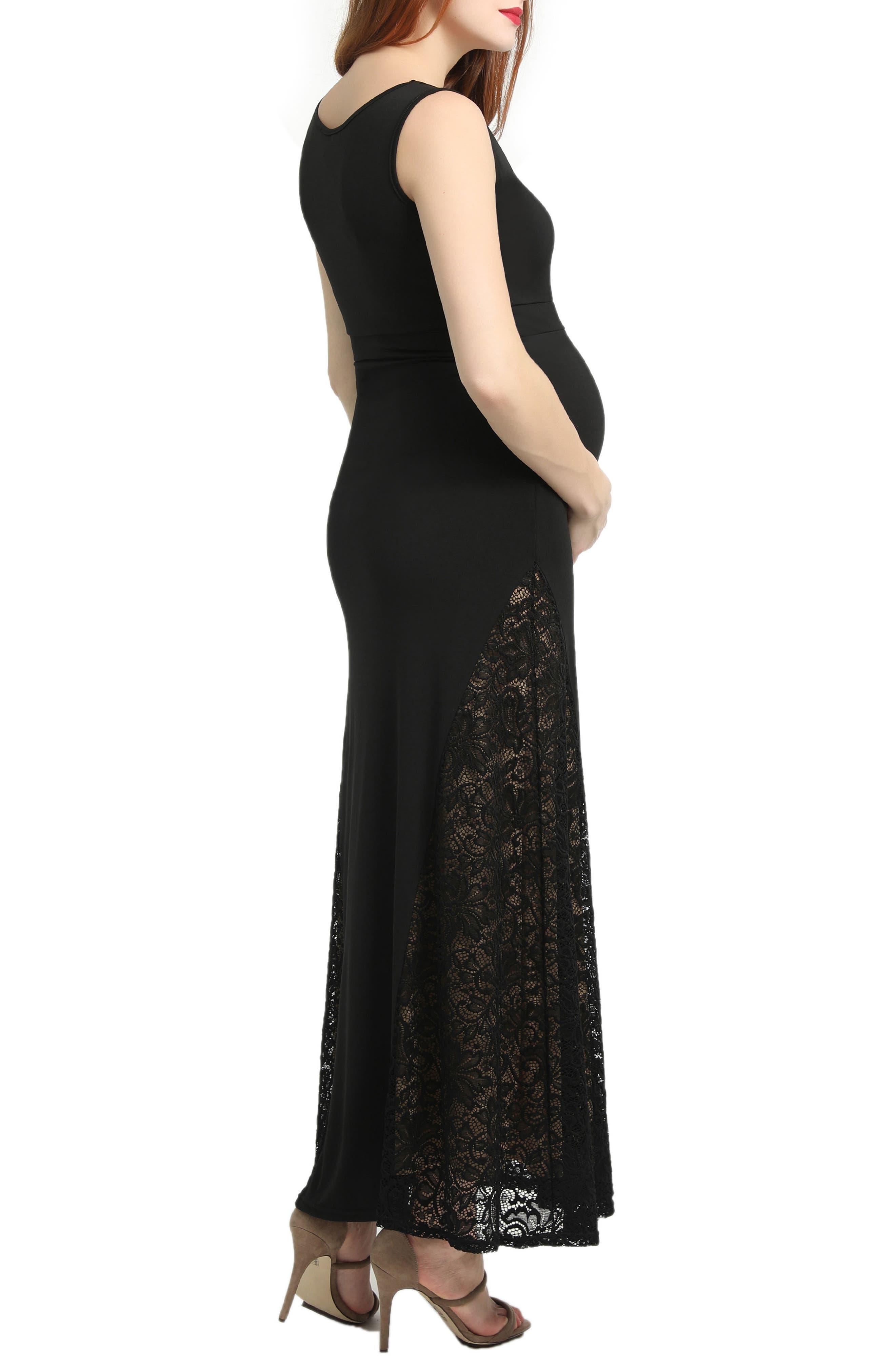 Elizabeth Lace Maternity Maxi Dress,                             Alternate thumbnail 2, color,                             Black