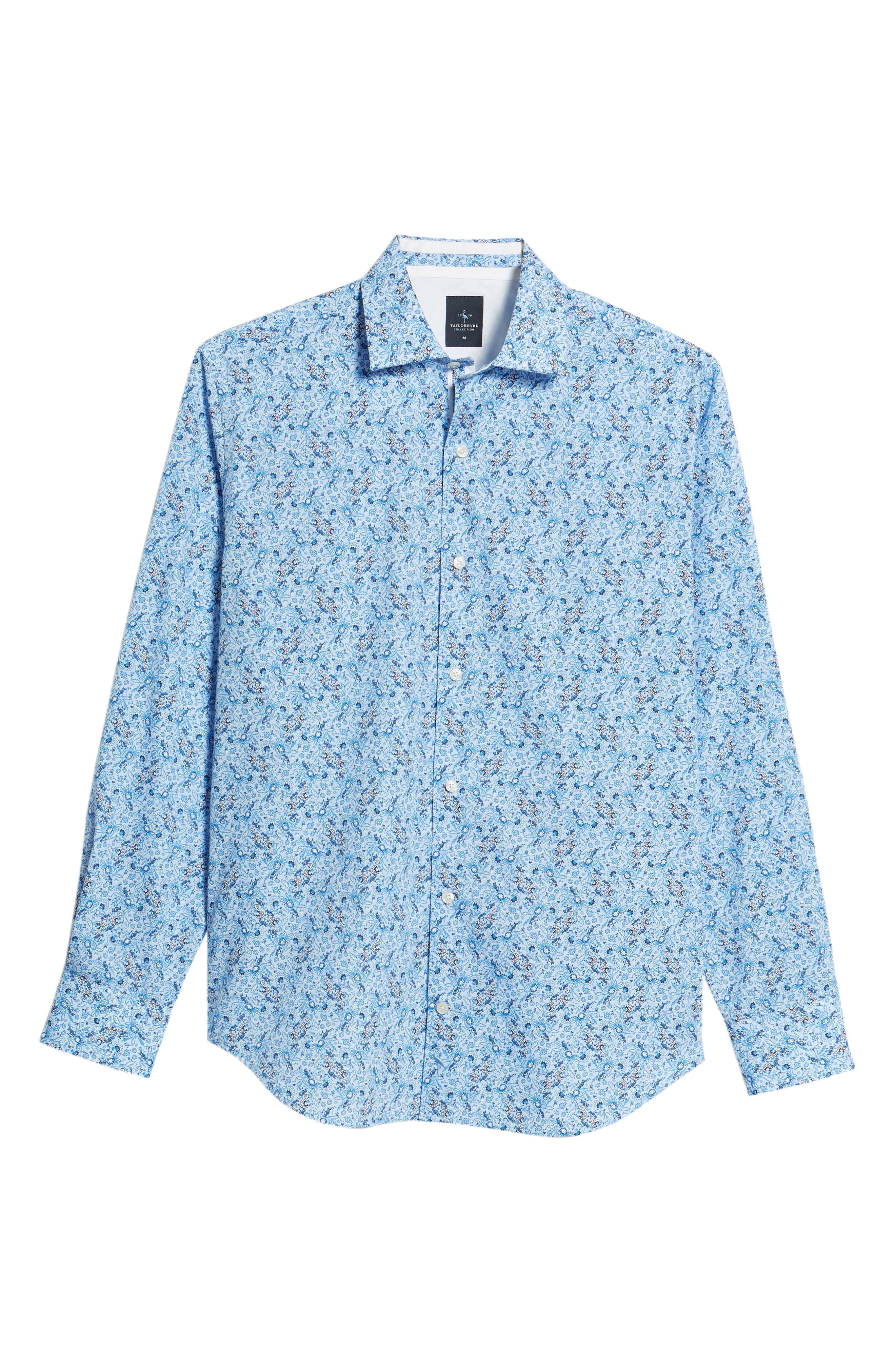 Stewart Regular Fit Floral Sport Shirt,                             Alternate thumbnail 6, color,                             Blue
