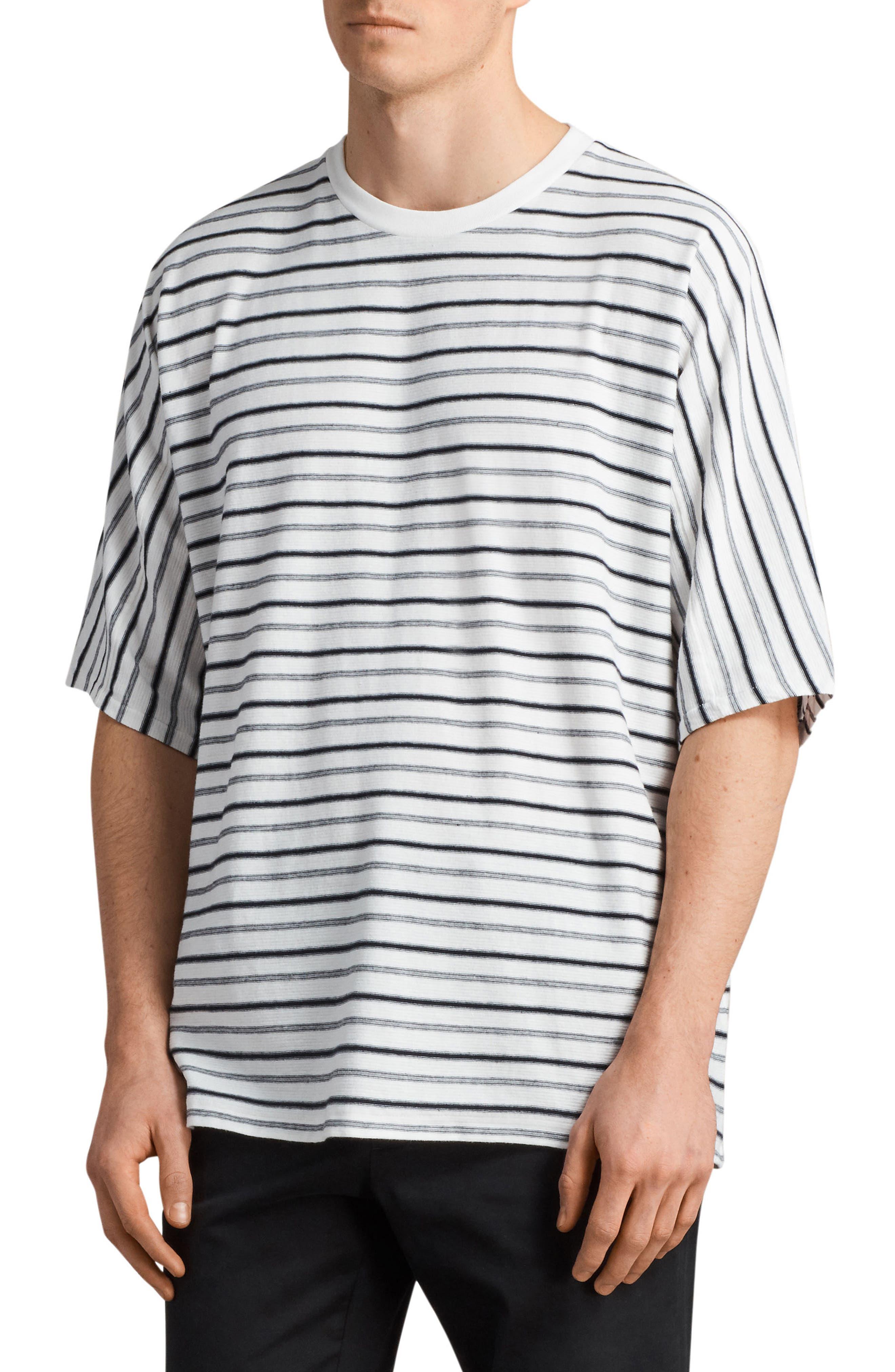 Jules Oversize Stripe T-Shirt,                             Alternate thumbnail 3, color,                             Chk White/ Ink Navy