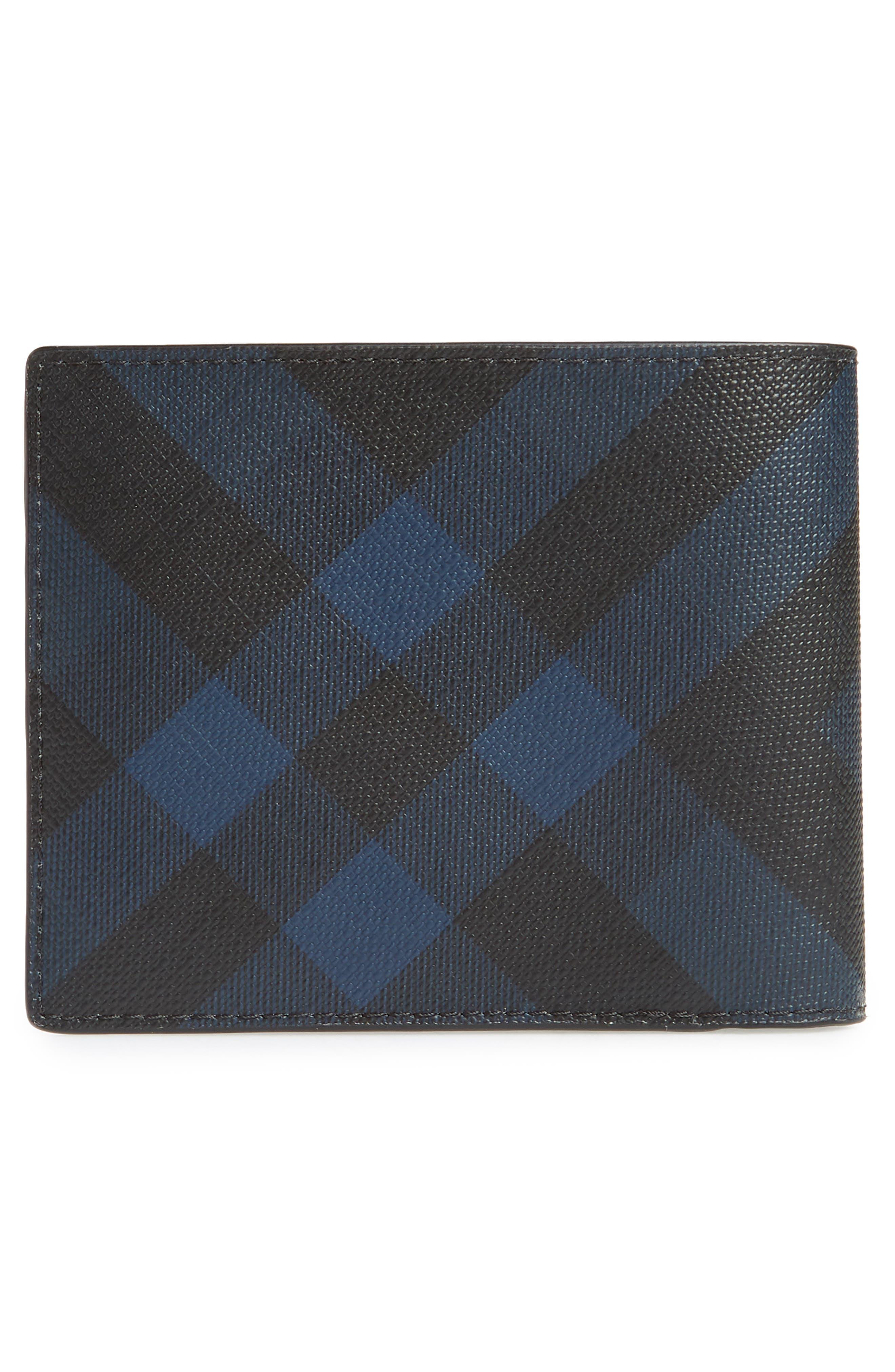 Ronan Check Billfold Wallet,                             Alternate thumbnail 3, color,                             Navy/ Black