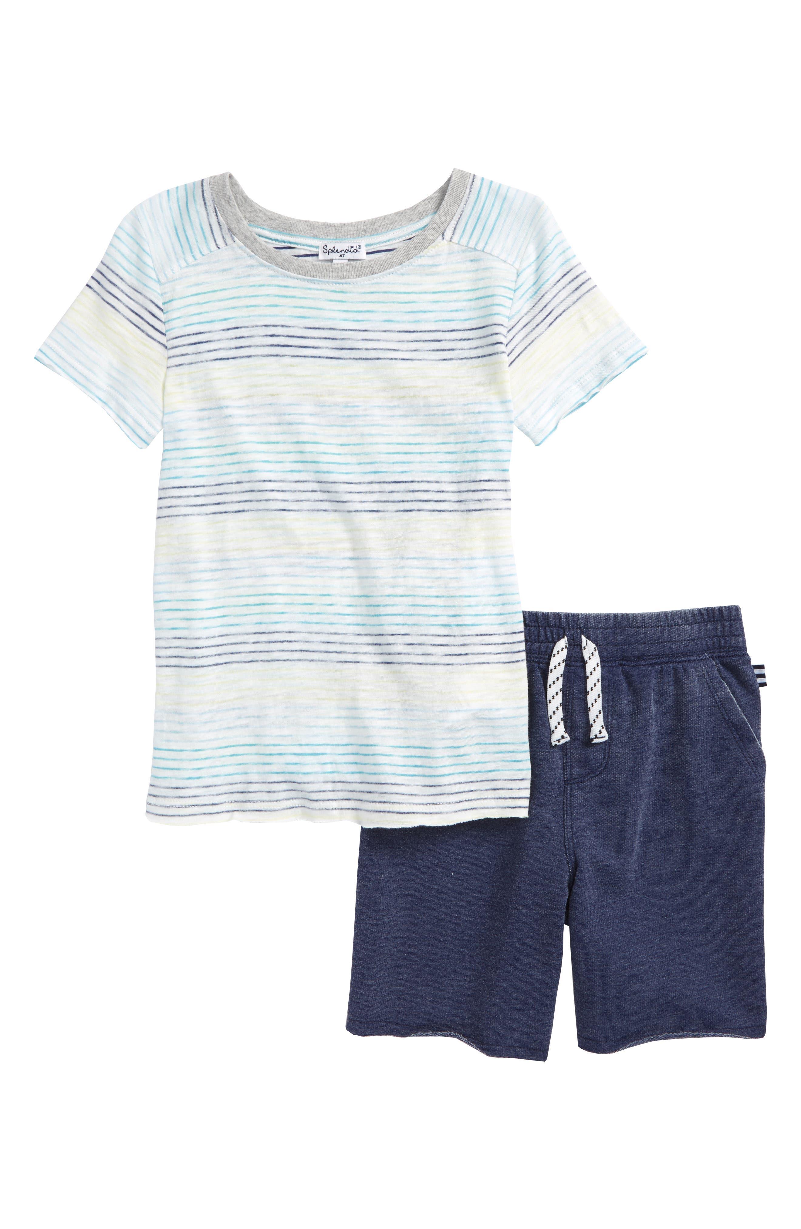 Stripe T-Shirt & Shorts Set,                             Main thumbnail 1, color,                             Full Sail