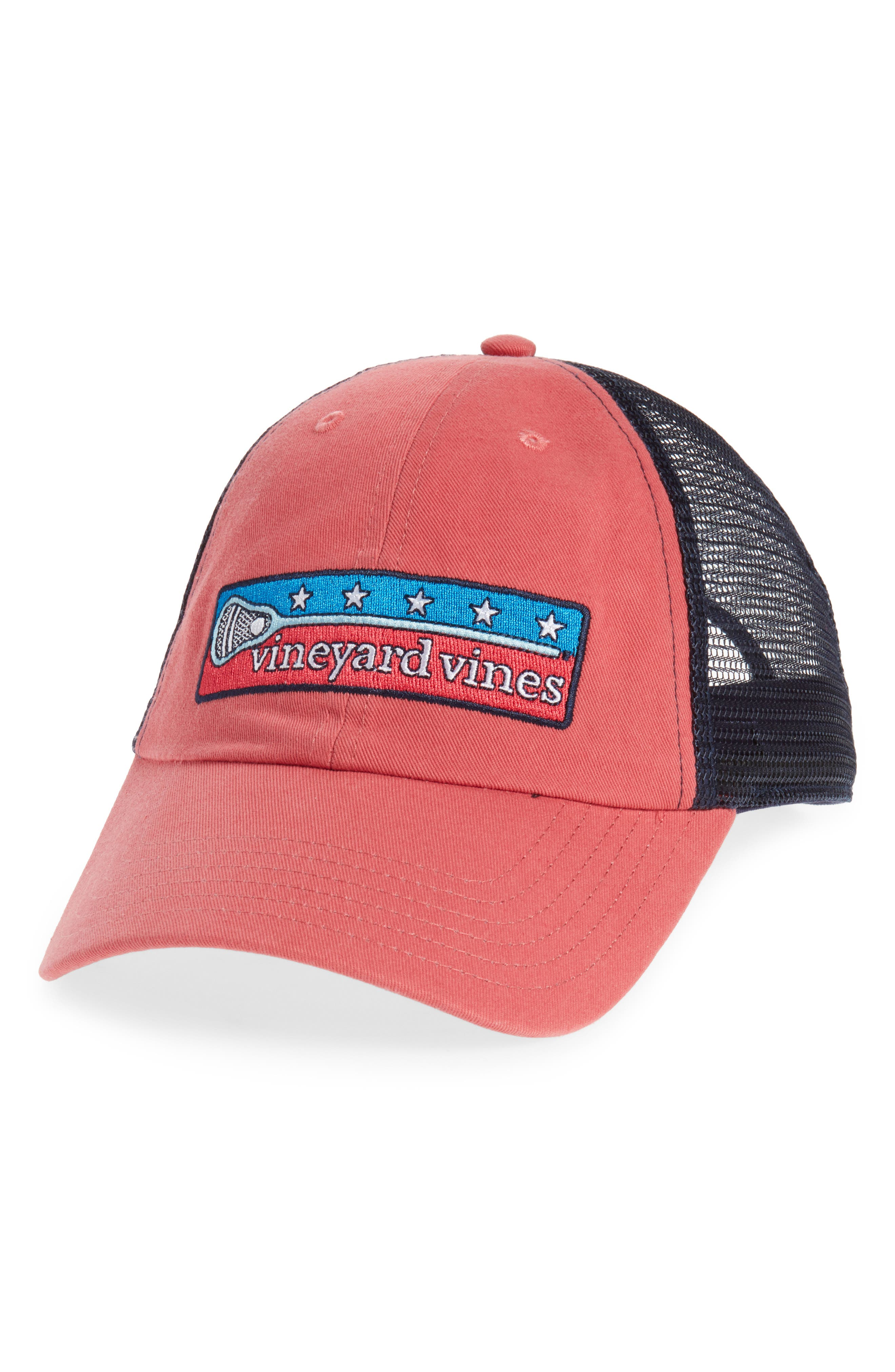 Low Profile Lax Patch Trucker Hat,                         Main,                         color, Jetty Red