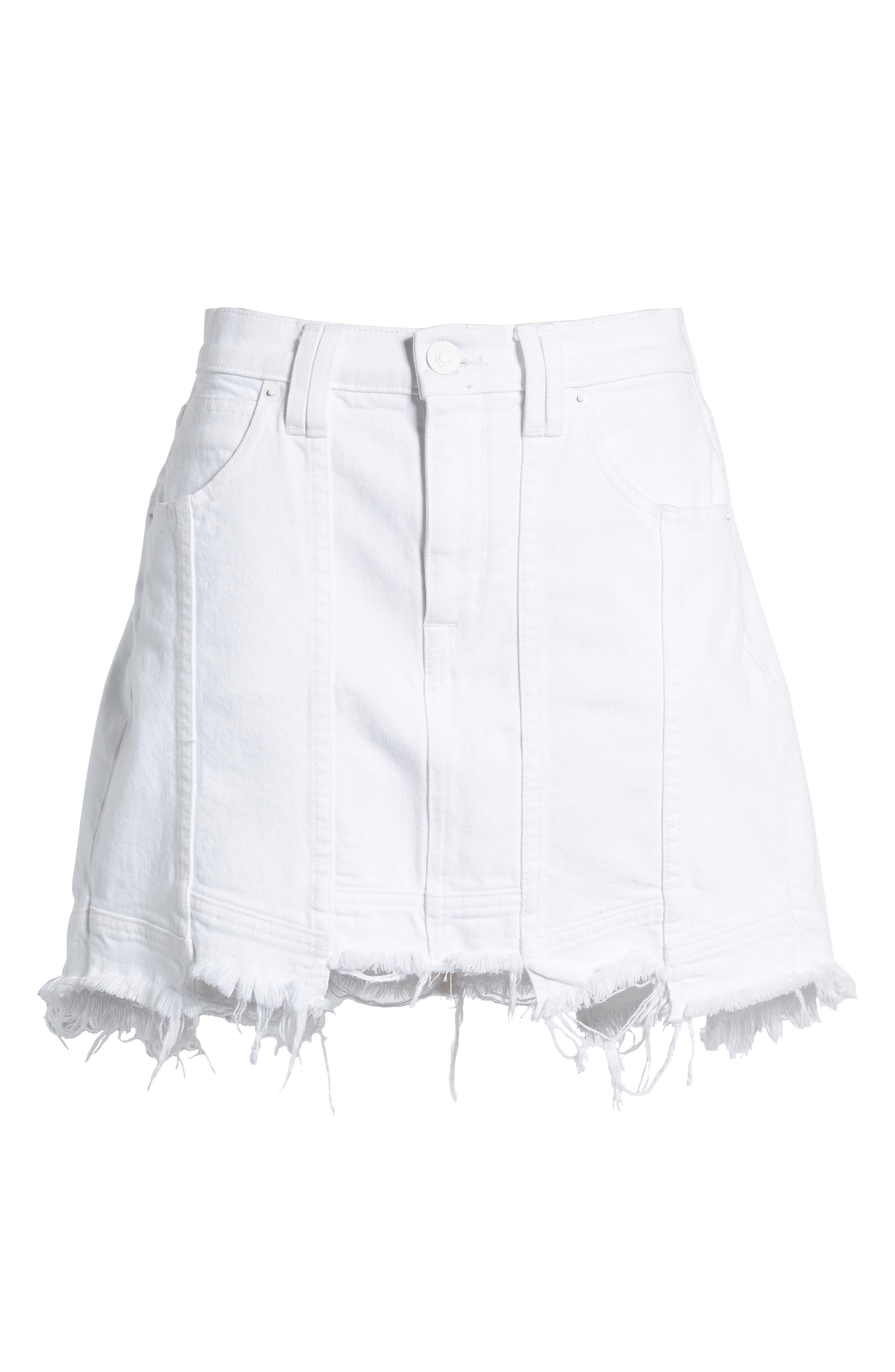 Raw Step Hem Denim Skirt,                             Alternate thumbnail 6, color,                             White