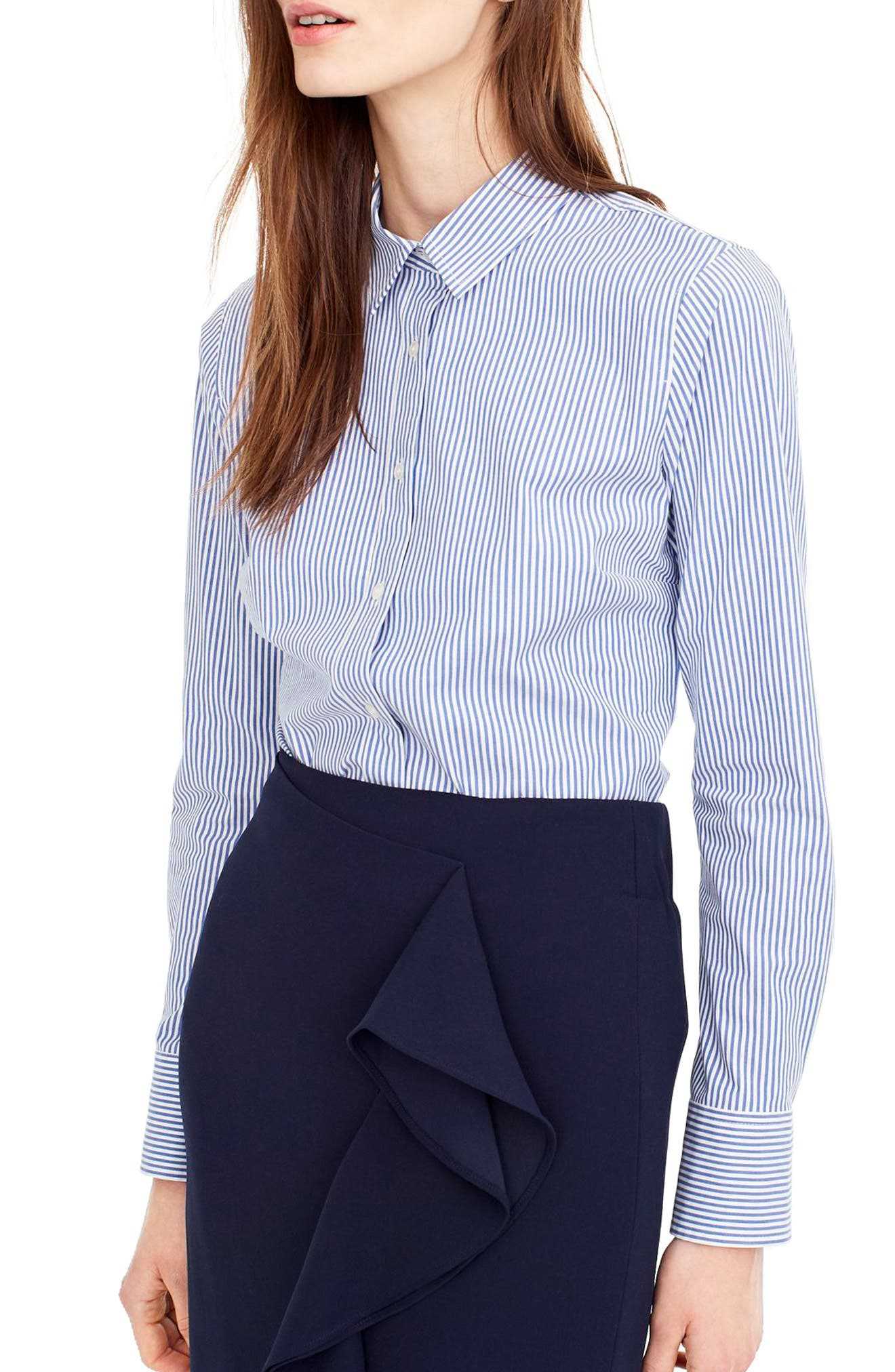J.Crew Classic Stripe Stretch Perfect Cotton Shirt,                         Main,                         color, French Blue
