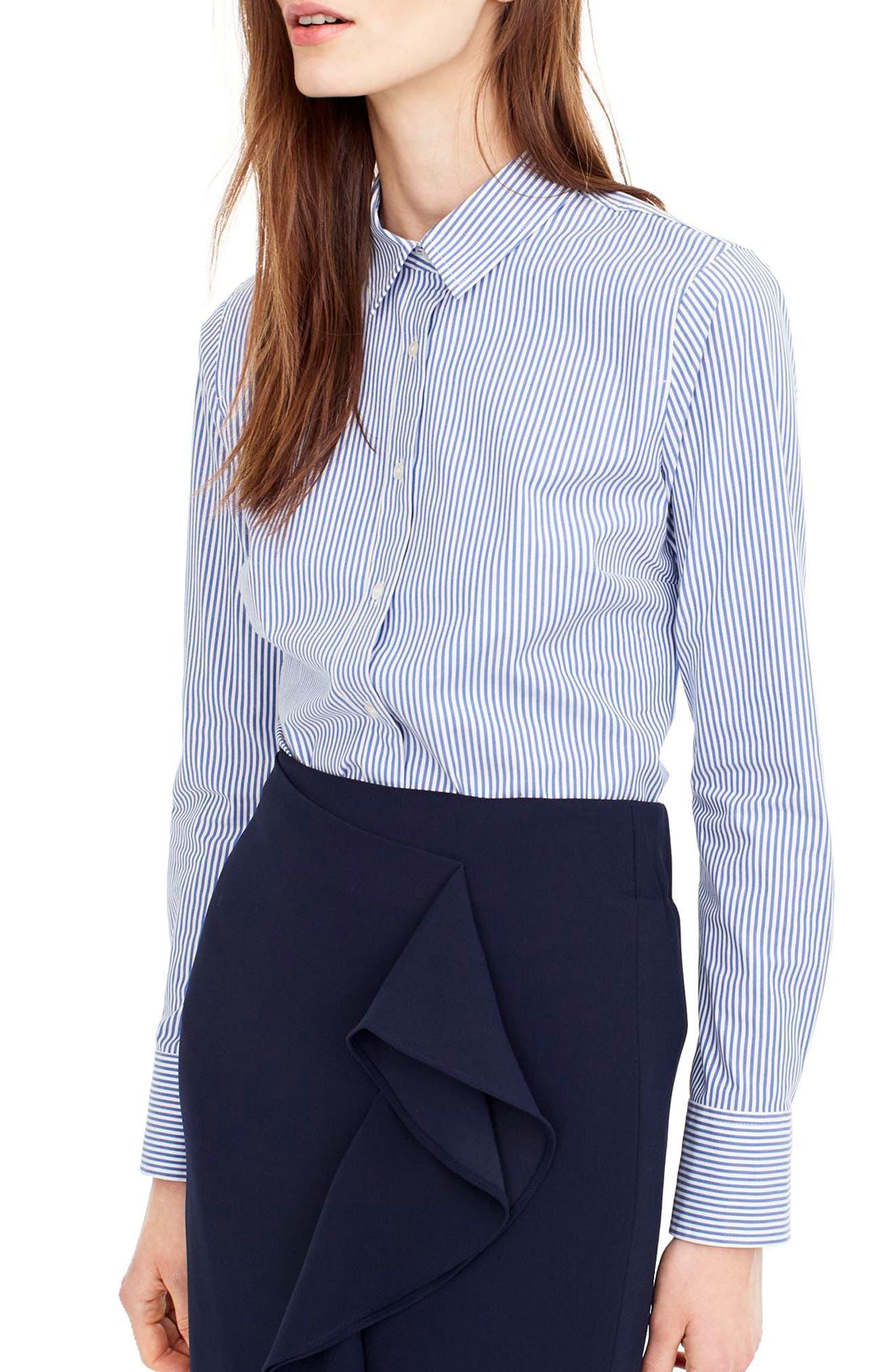 J.Crew Classic Stripe Stretch Perfect Cotton Shirt (Regular & Petite)