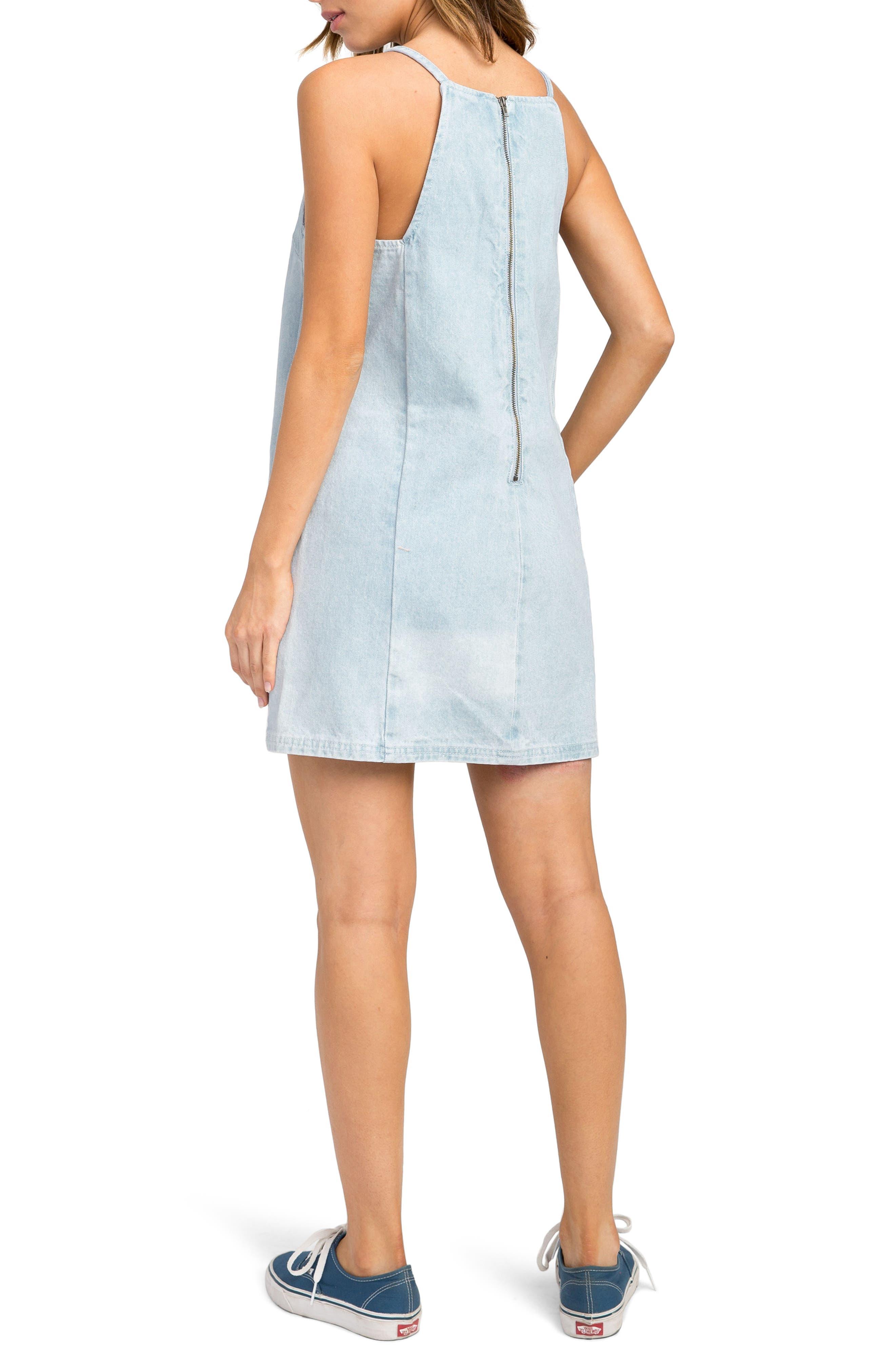Maple Denim Apron Dress,                             Alternate thumbnail 3, color,                             Denim