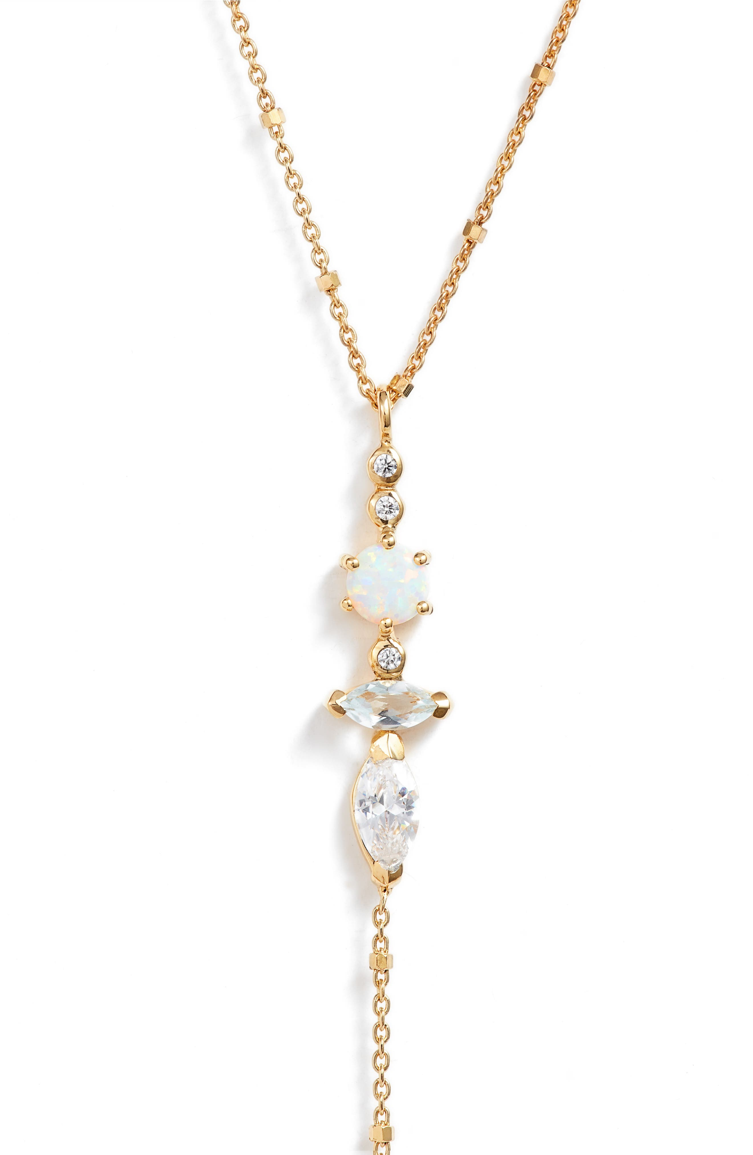 Sydney Multi-Stone Lariat Necklace,                             Alternate thumbnail 2, color,                             Gold