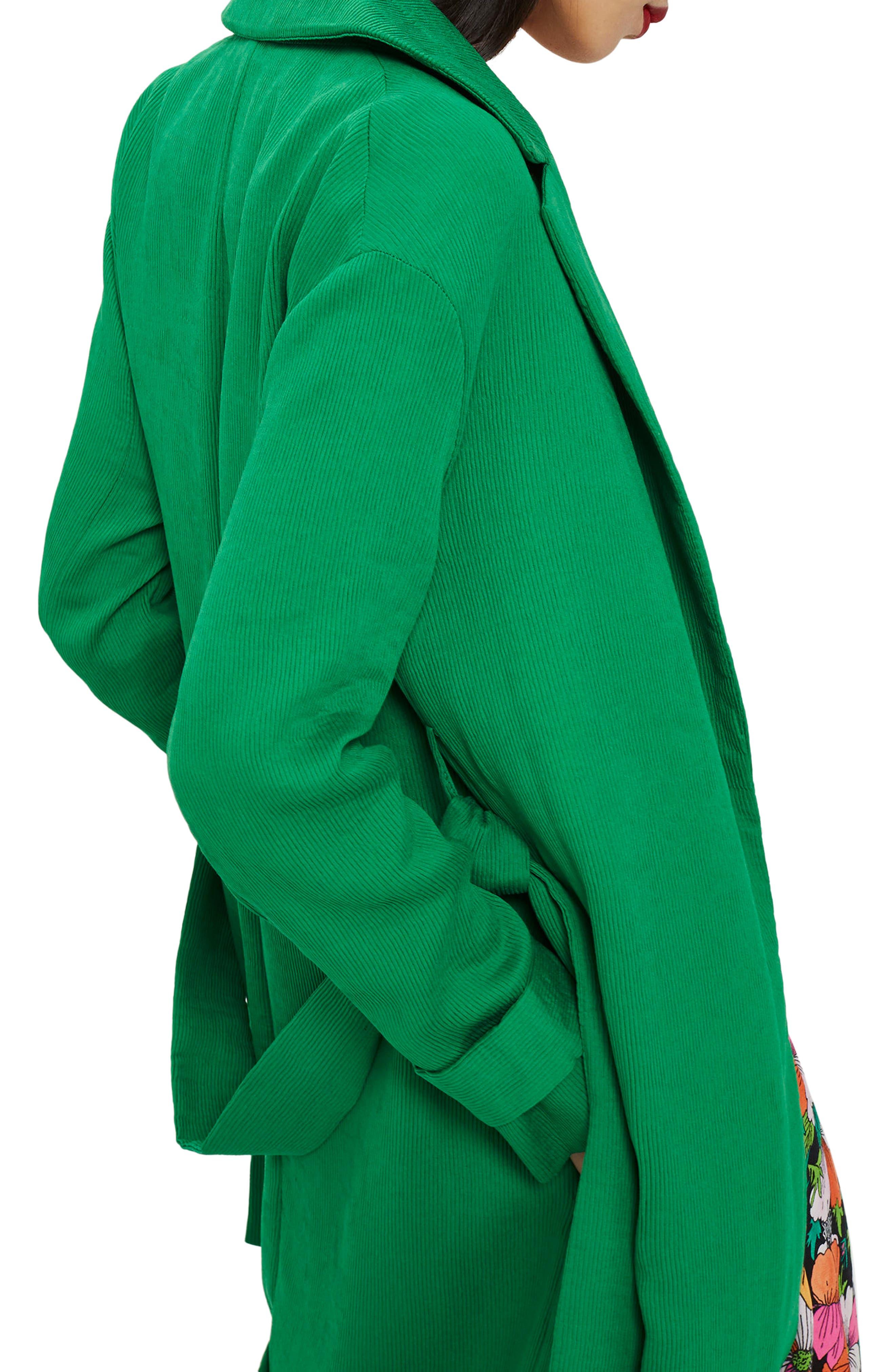 Plissé Belted Duster Coat,                             Alternate thumbnail 3, color,                             Green