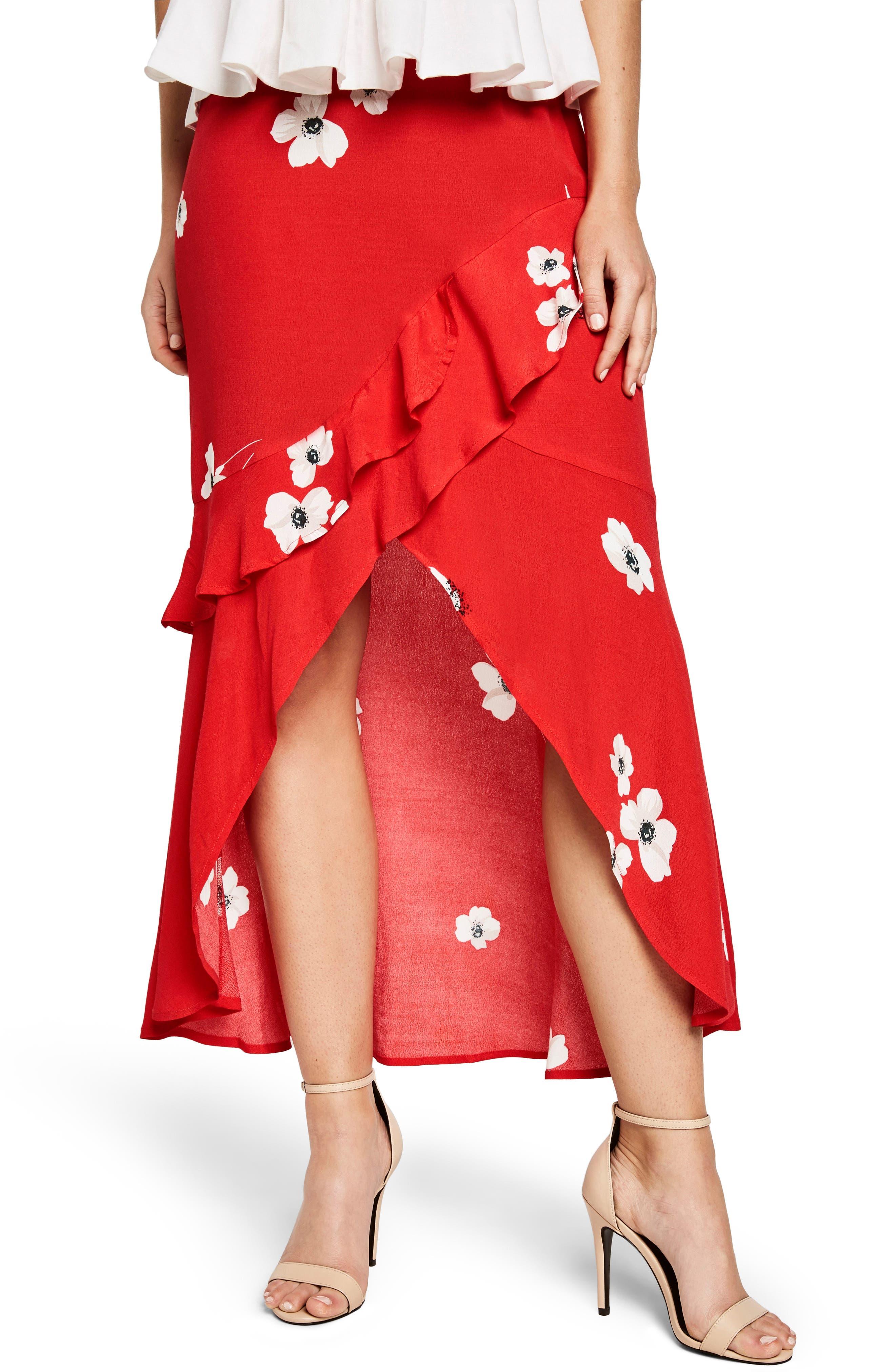 Freida Ruffle Skirt,                         Main,                         color, Poppy