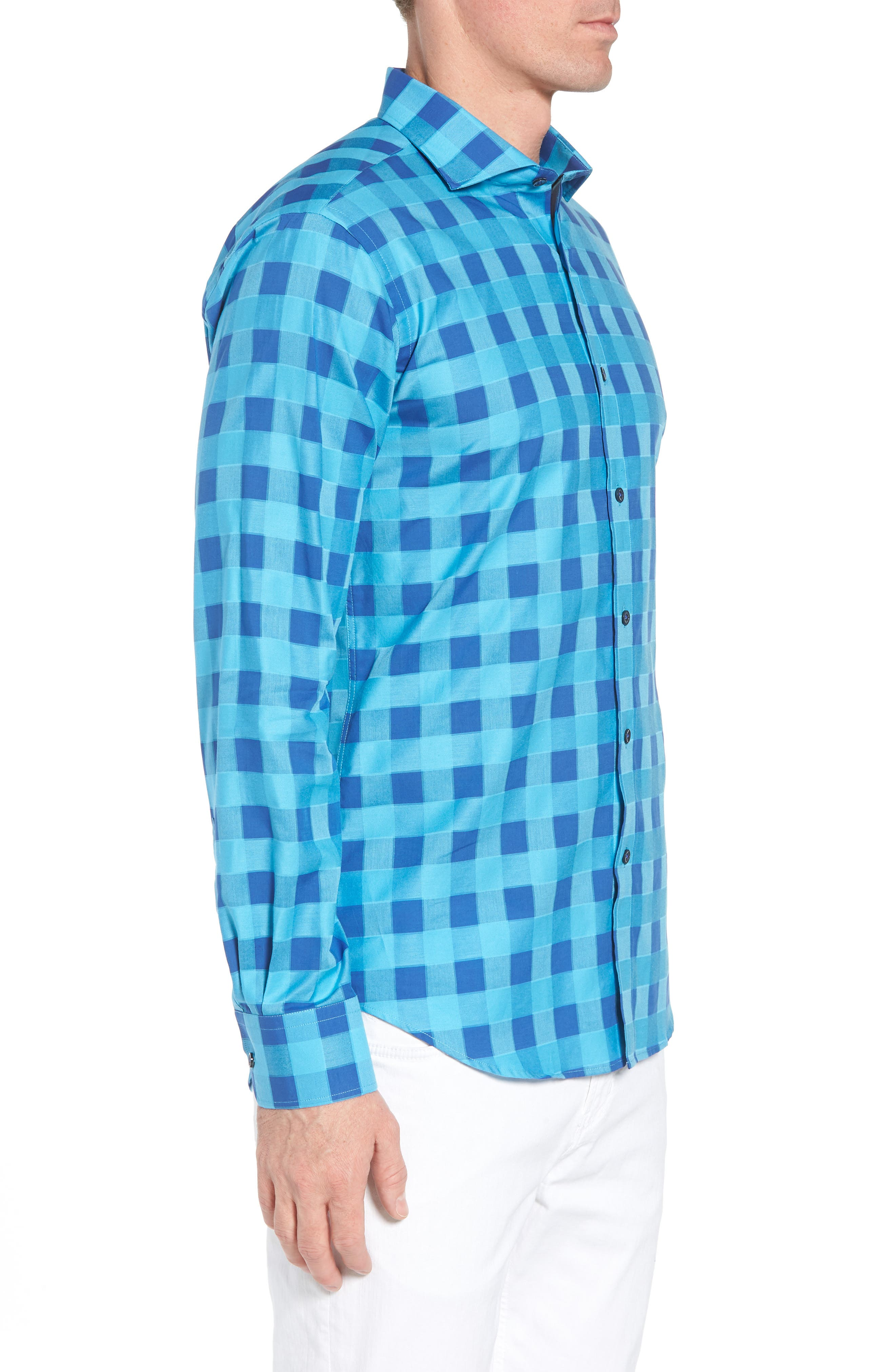 Shaped Fit Check Sport Shirt,                             Alternate thumbnail 4, color,                             Turquoise