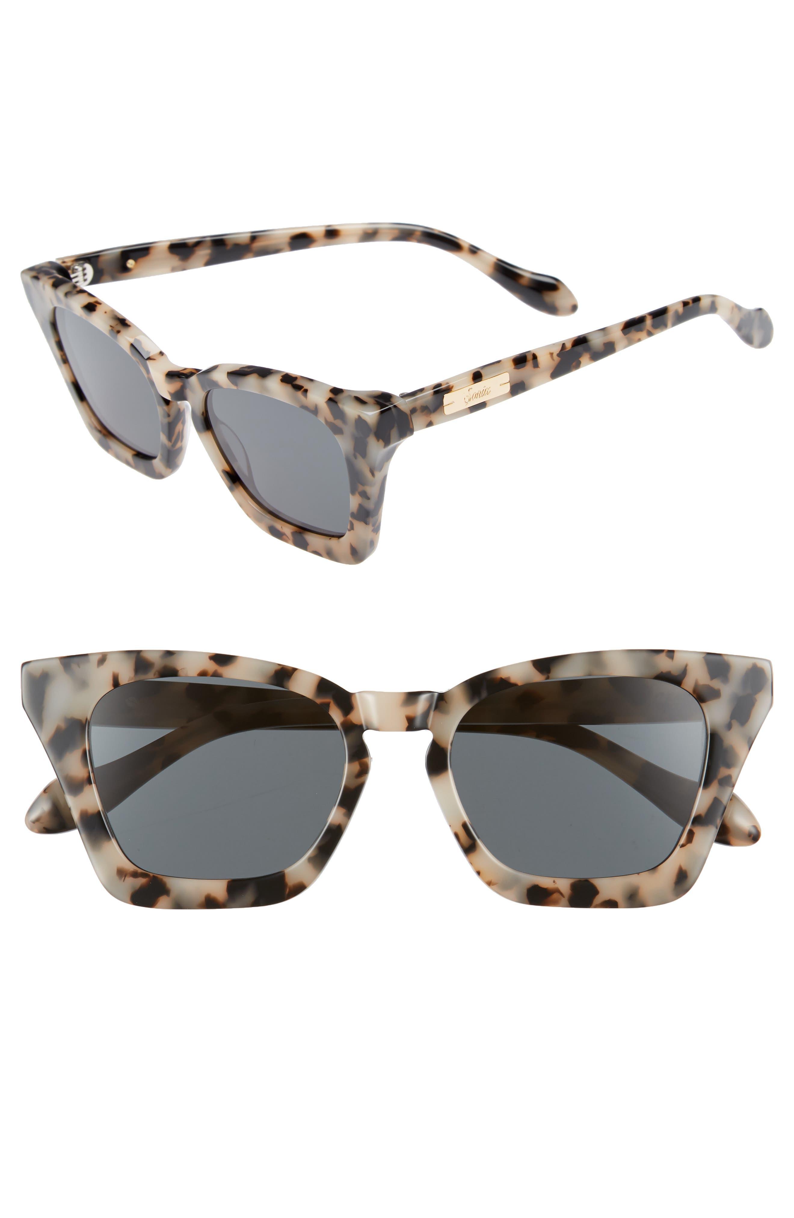 Ginza 50mm Cat Eye Sunglasses,                             Main thumbnail 1, color,                             Milk Tortoise/ Black Solid