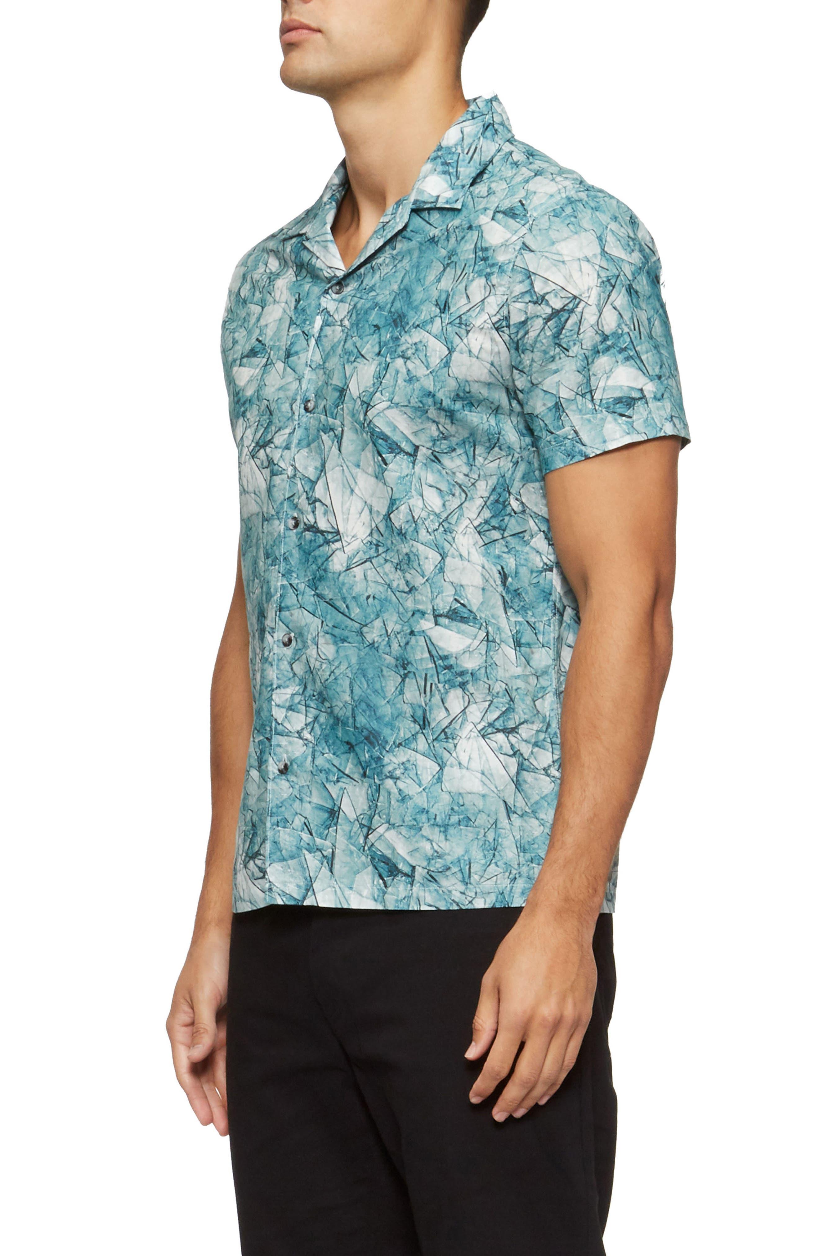 Shoto Short Sleeve Shirt,                             Alternate thumbnail 3, color,                             Shattered Blue
