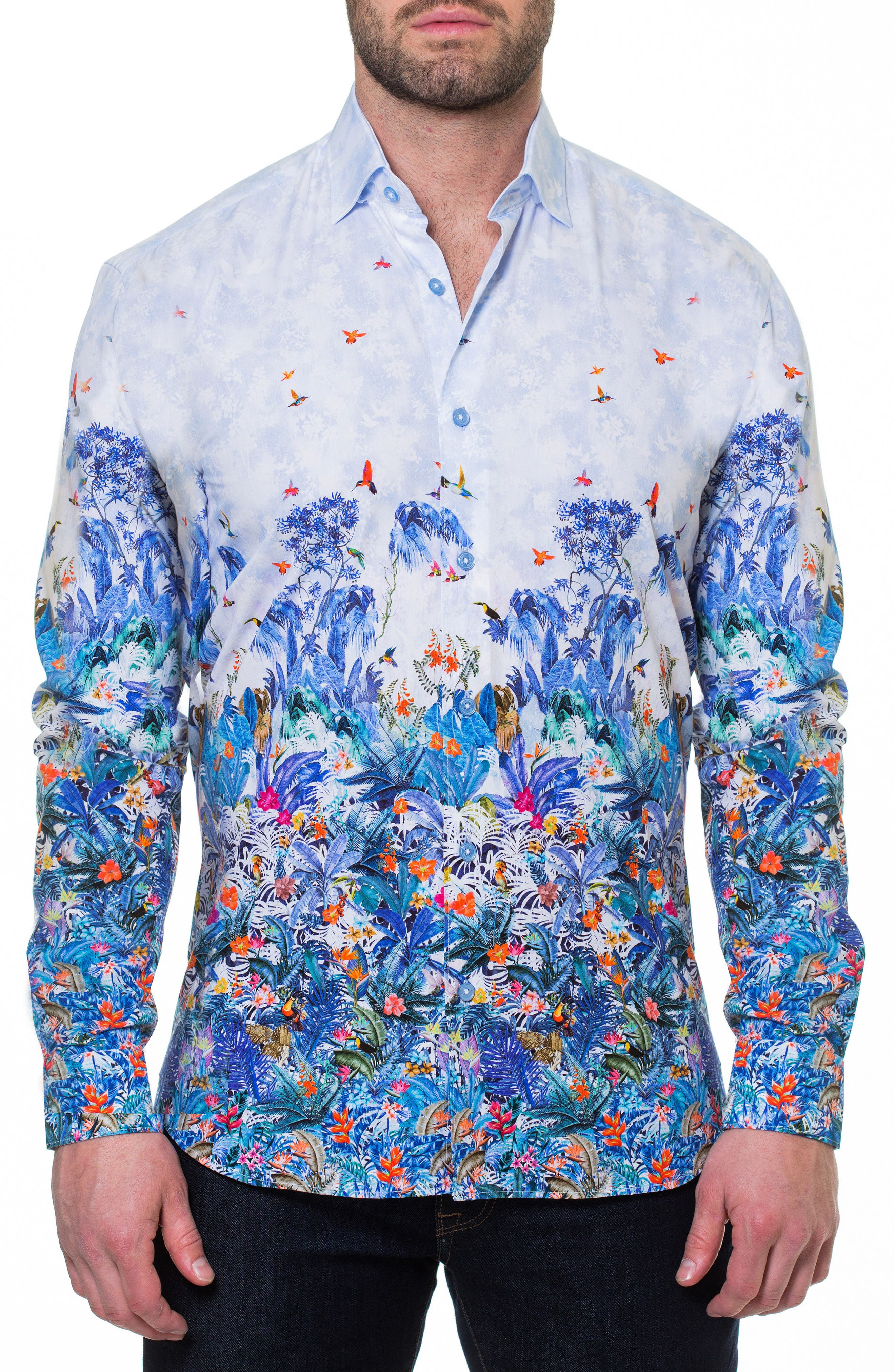 Luxor Amazon Slim Fit Print Sport Shirt,                             Main thumbnail 1, color,                             Blue
