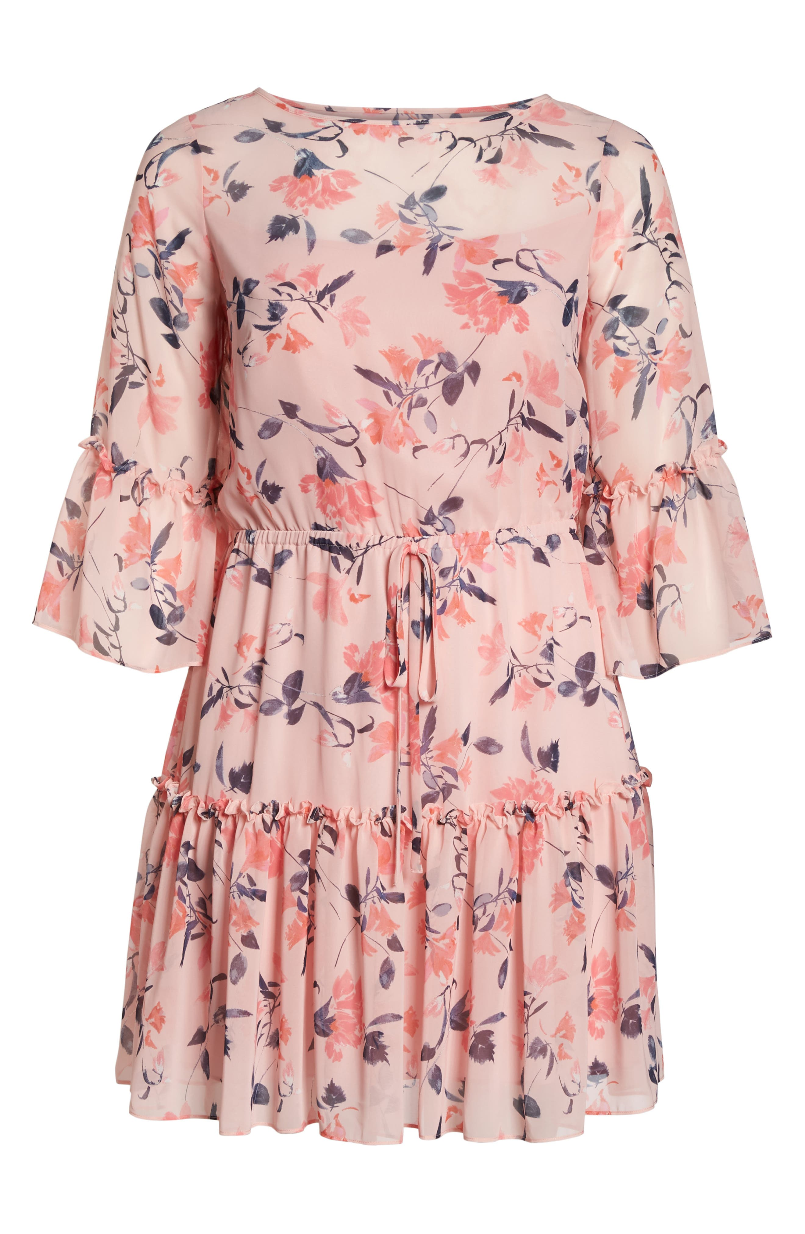 Elza J Floral Bell Sleeve Chiffon Dress,                             Alternate thumbnail 7, color,                             Blush