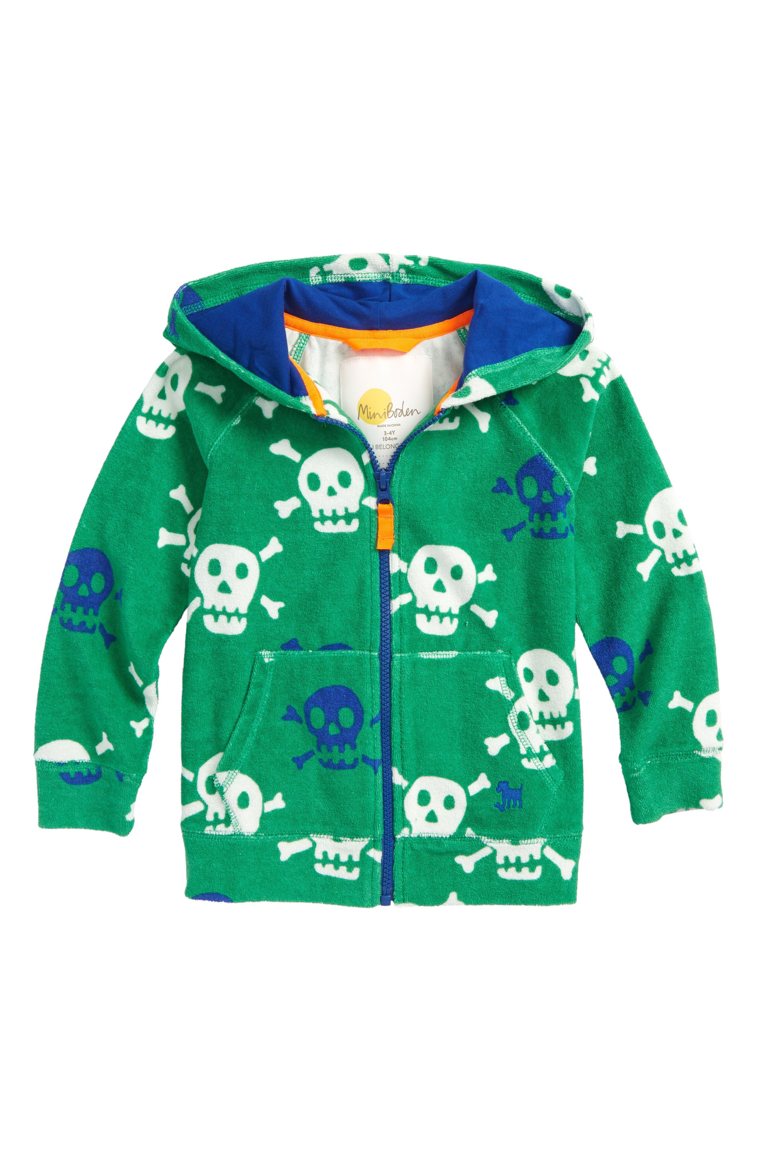 Skulls Toweling Zip Hoodie,                         Main,                         color, Runner Bean Green Skulls
