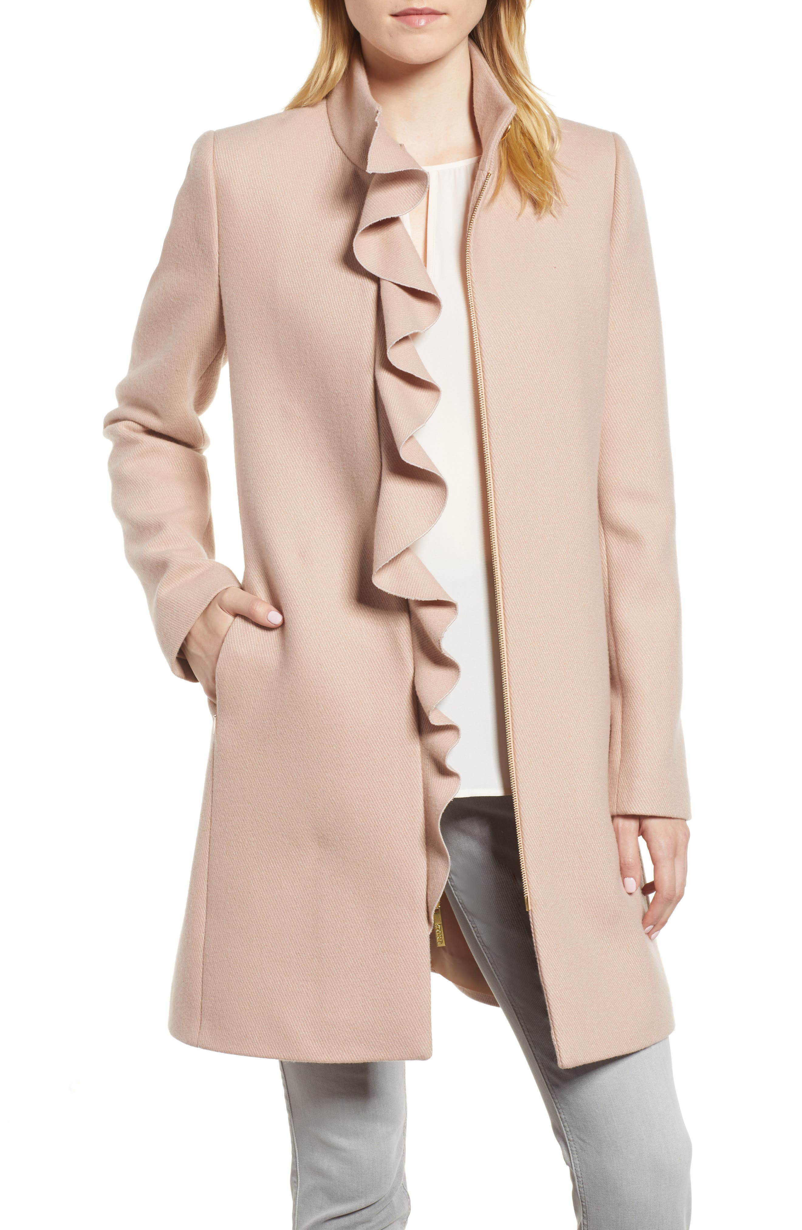 Ruffle Twill Coat,                         Main,                         color, Blush