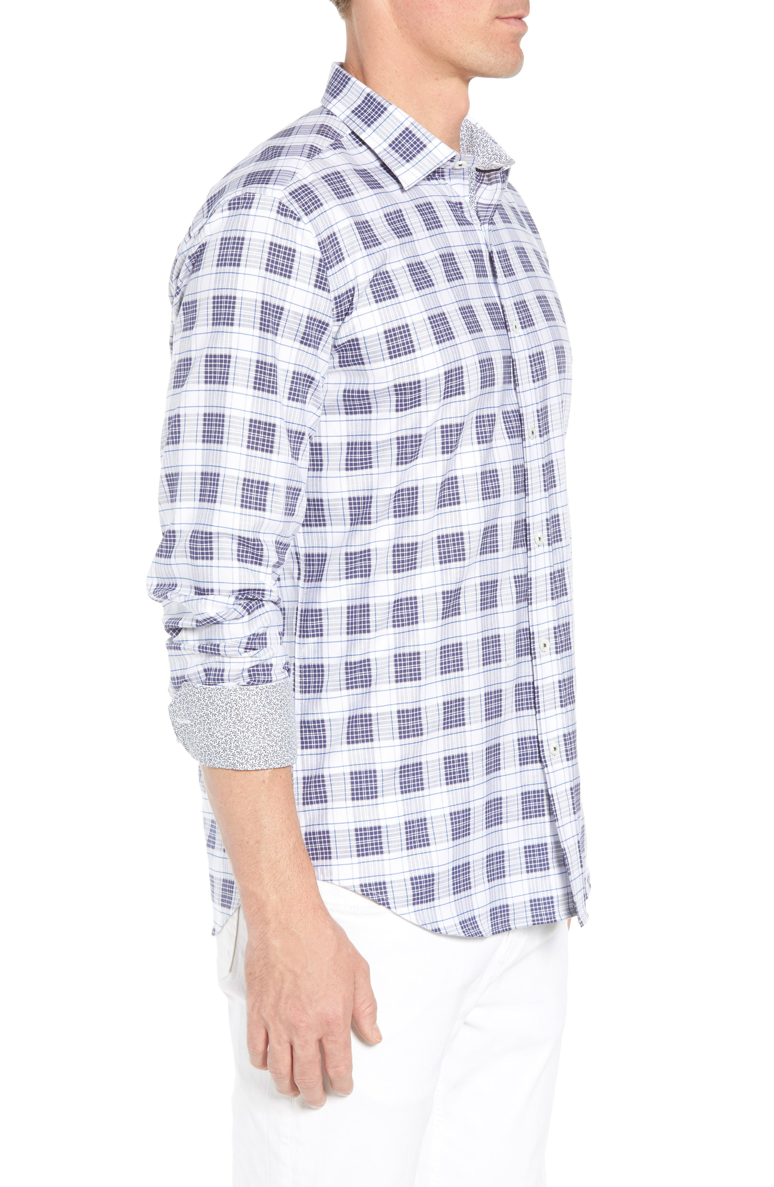 Shaped Fit Plaid Sport Shirt,                             Alternate thumbnail 4, color,                             Navy