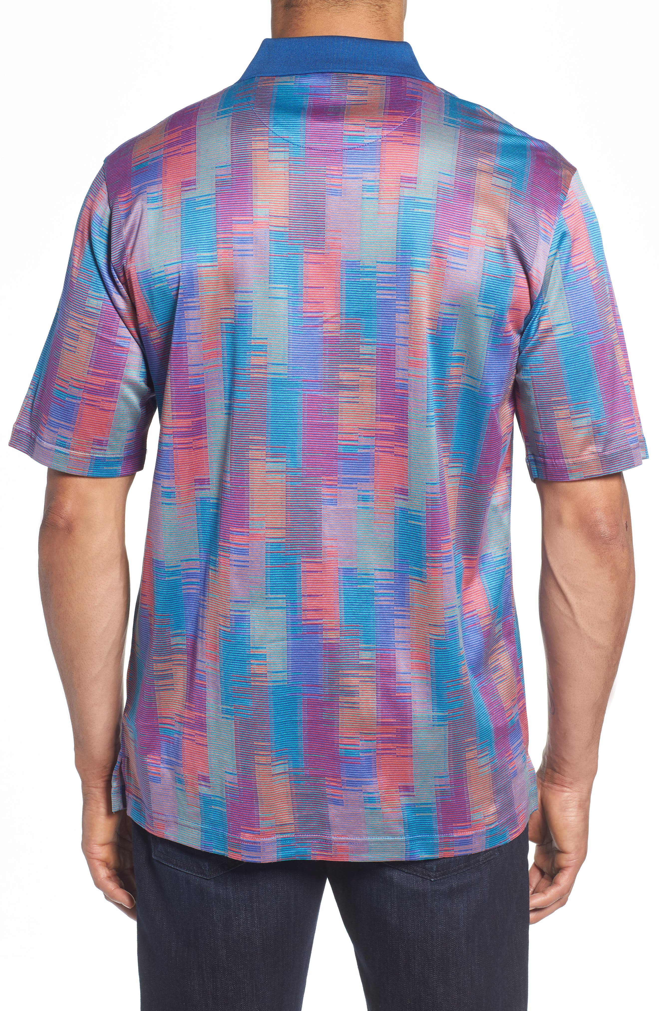 Abstract Stripe Mercerized Cotton Polo,                             Alternate thumbnail 2, color,                             Coral