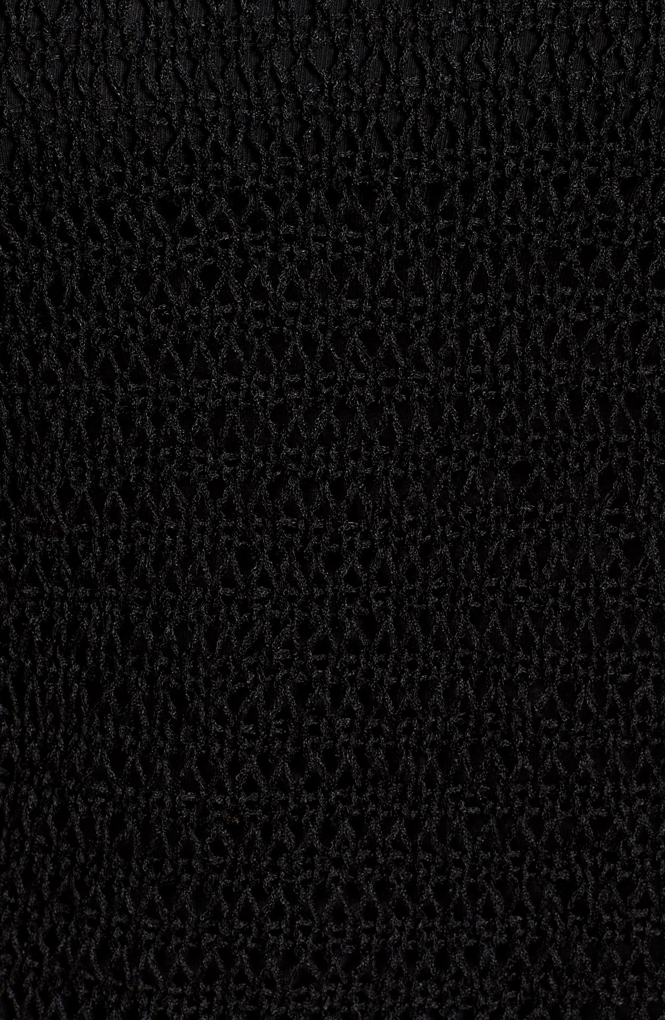 Mesh Organic Linen Blend Mesh Top,                             Alternate thumbnail 6, color,                             Black