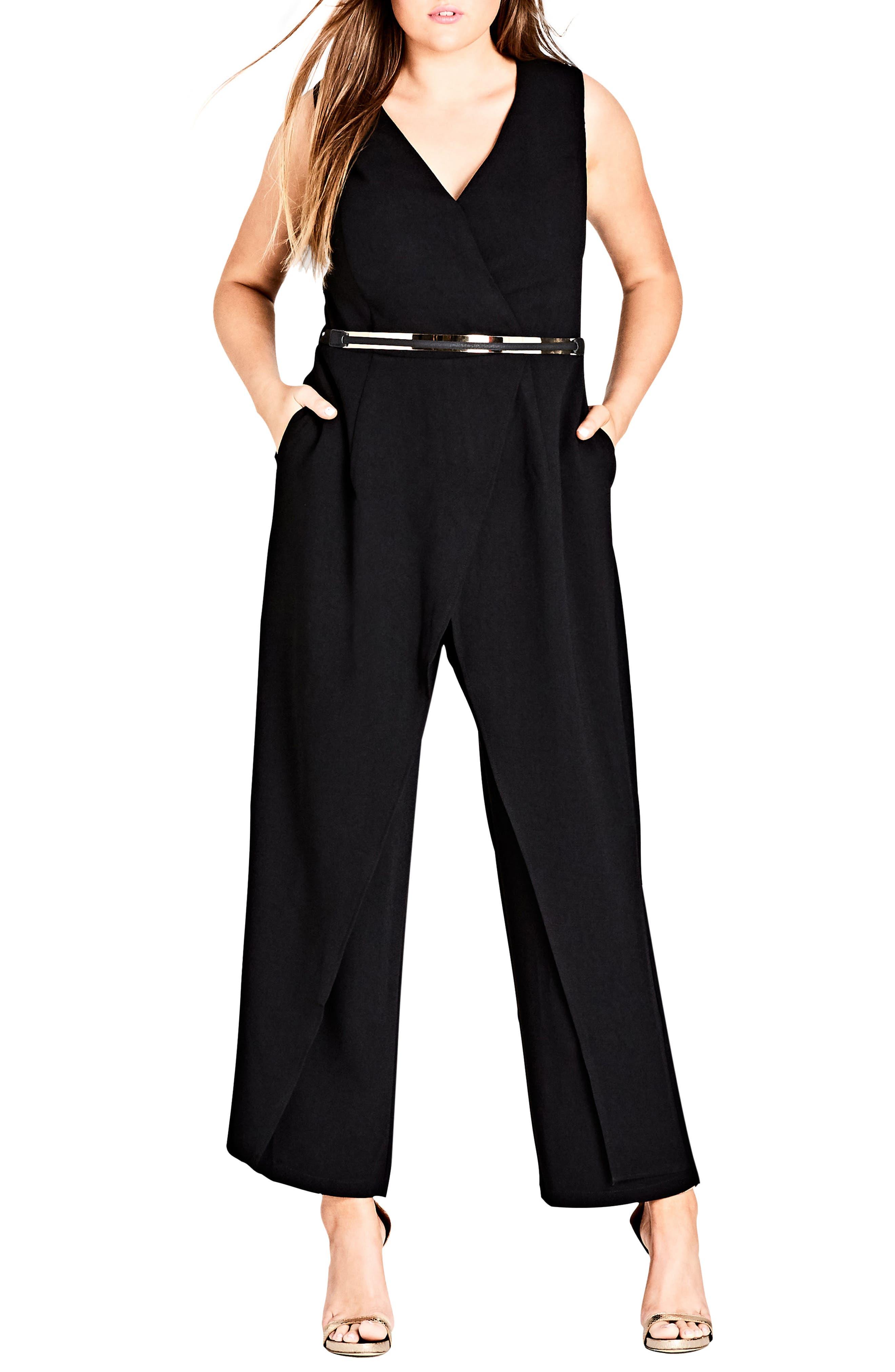 Flicker Faux Wrap Jumpsuit,                         Main,                         color, Black