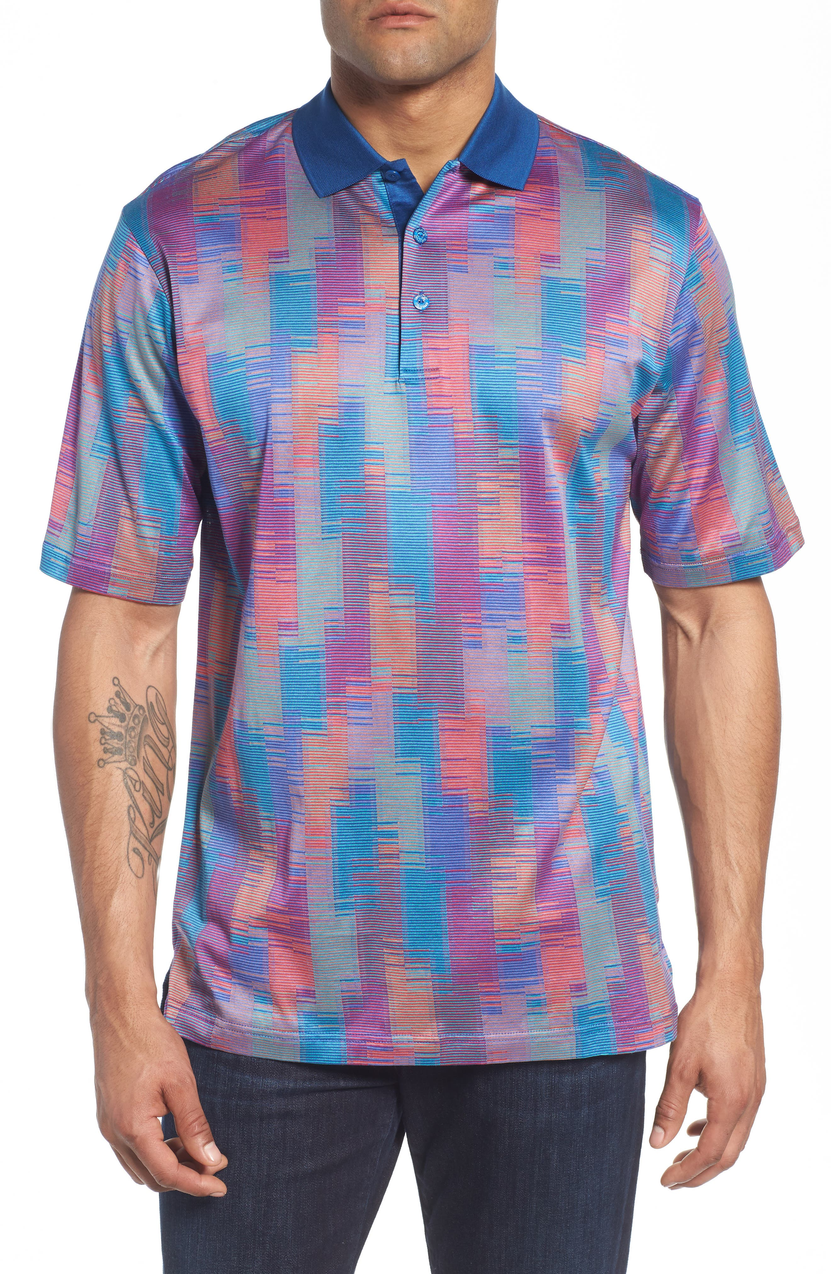 Abstract Stripe Mercerized Cotton Polo,                         Main,                         color, Coral