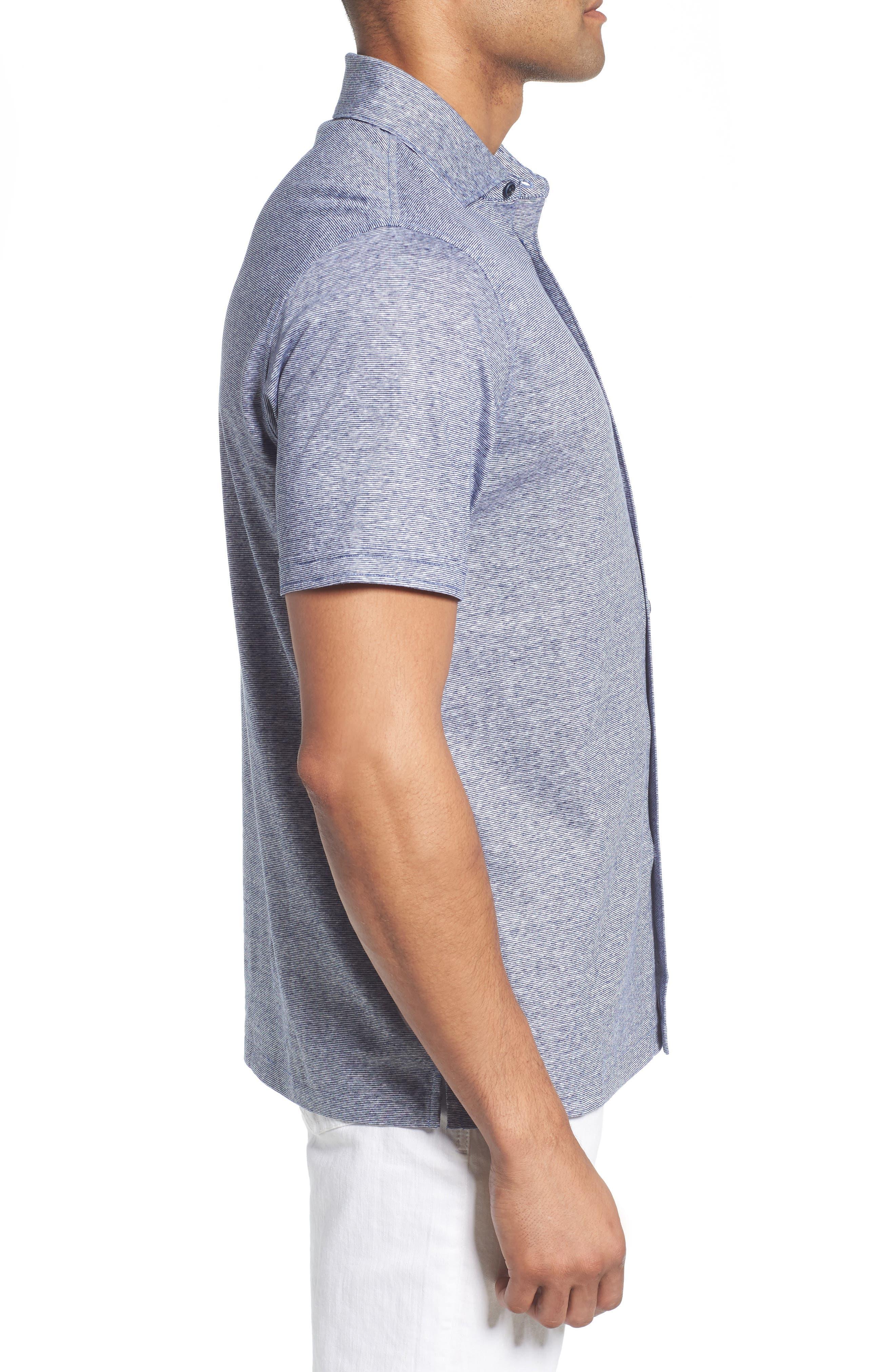 Knit Sport Shirt,                             Alternate thumbnail 4, color,                             Navy