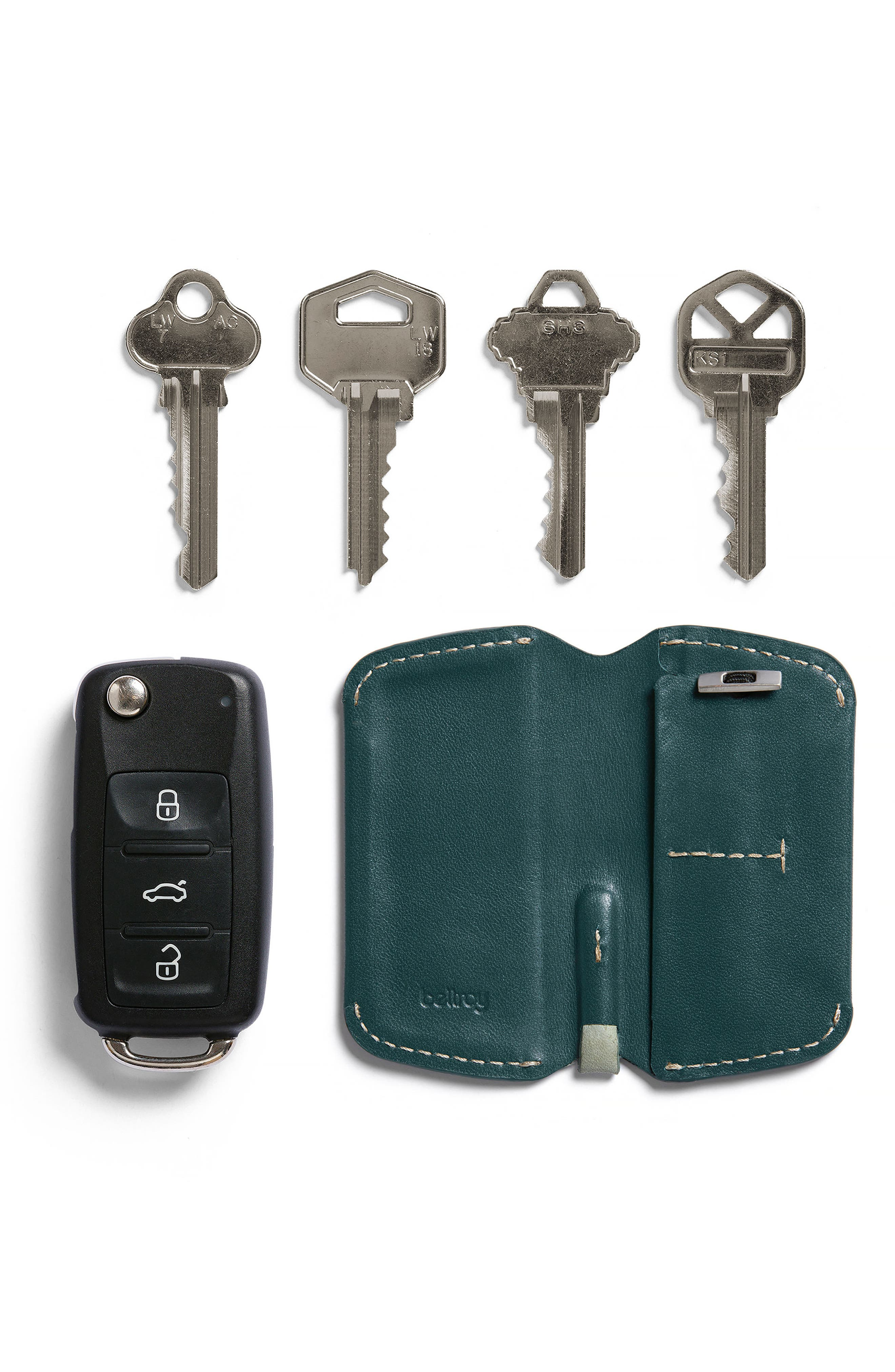 Leather Key Cover,                             Alternate thumbnail 6, color,                             Teal