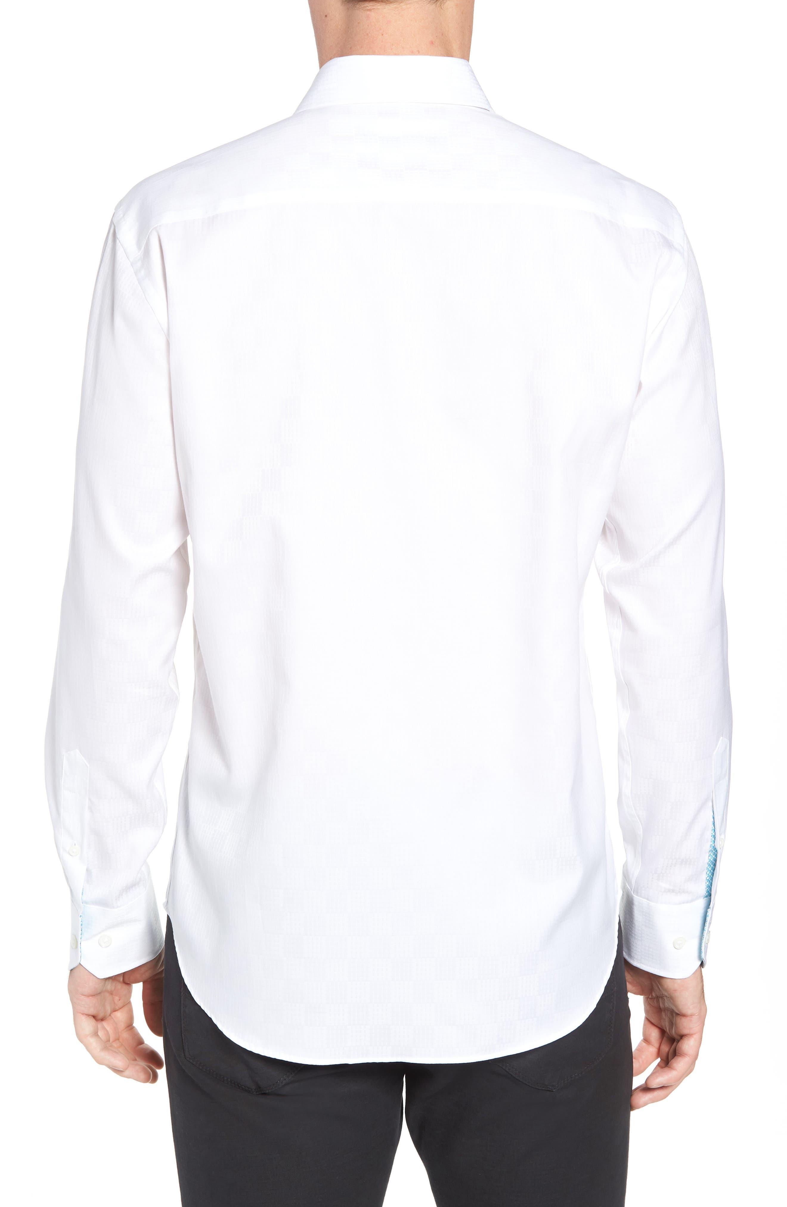Shaped Fit Sport Shirt,                             Alternate thumbnail 3, color,                             White