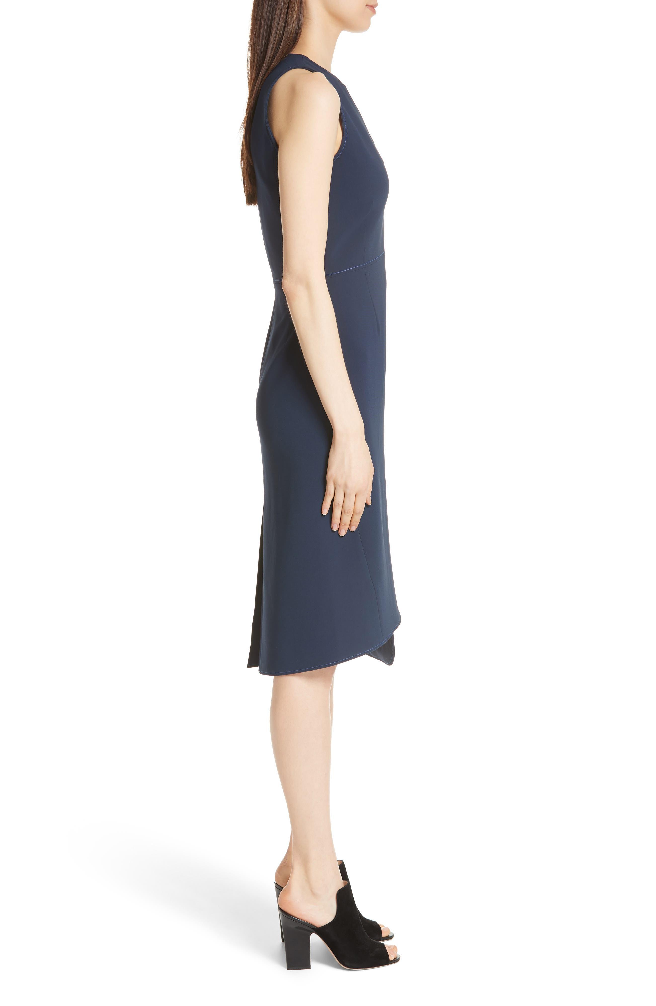 Asymmetrical Belted Dress,                             Alternate thumbnail 3, color,                             Navy