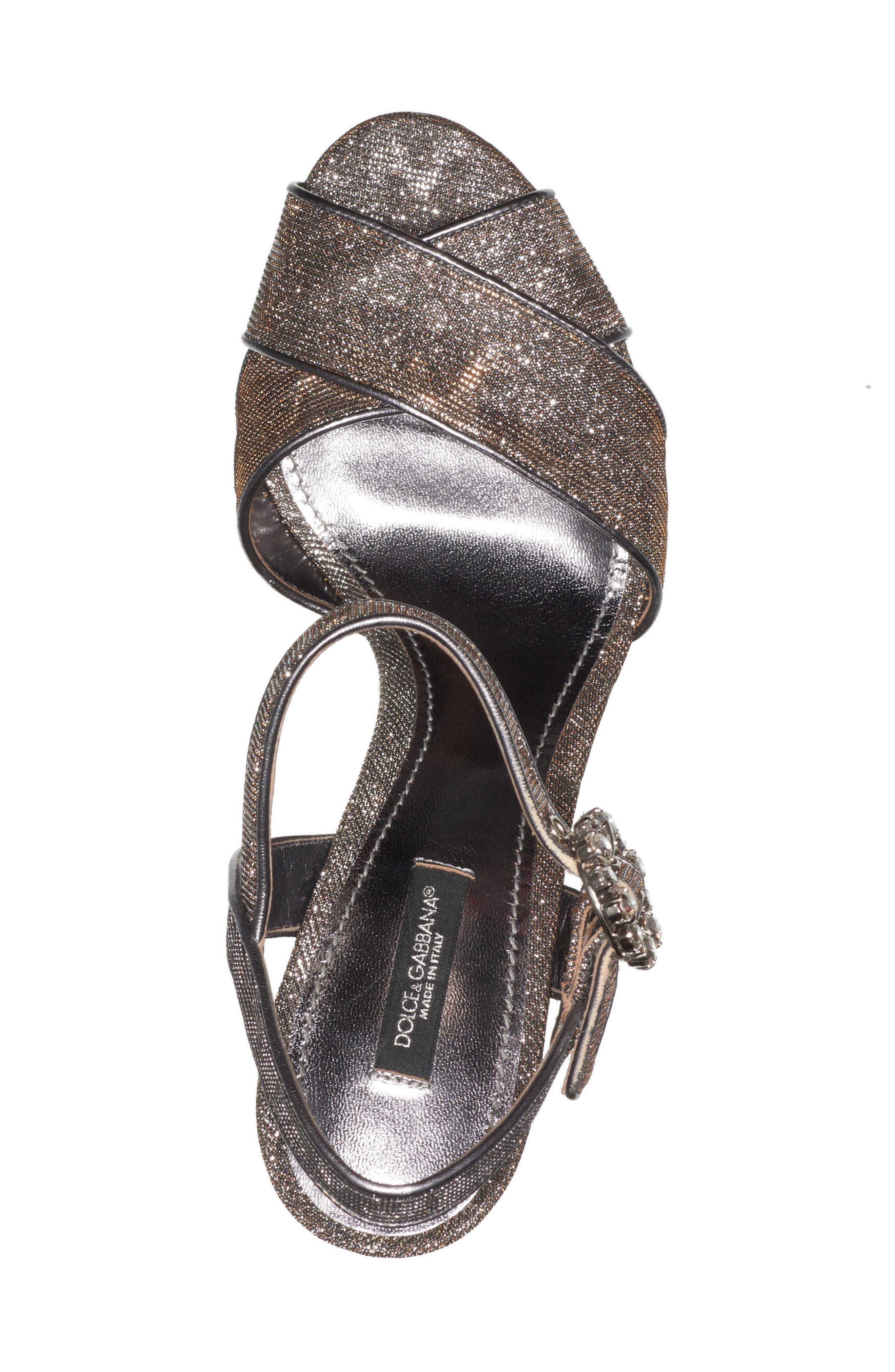 Alternate Image 5  - Dolce&Gabbana Metallic Leopard Print Sandal (Women)
