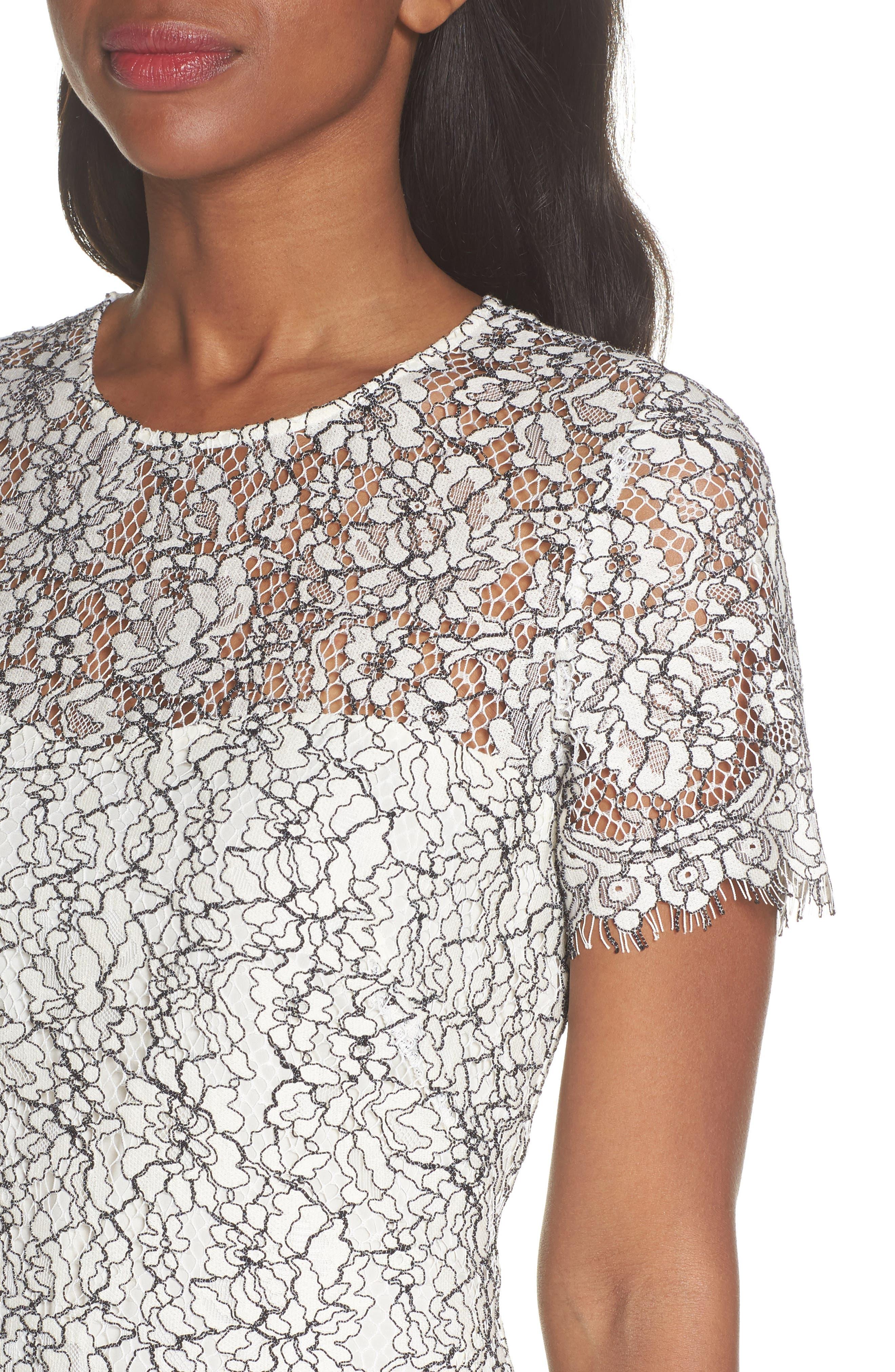 Two-Tone Lace A-Line Dress,                             Alternate thumbnail 4, color,                             Ivory/ Black