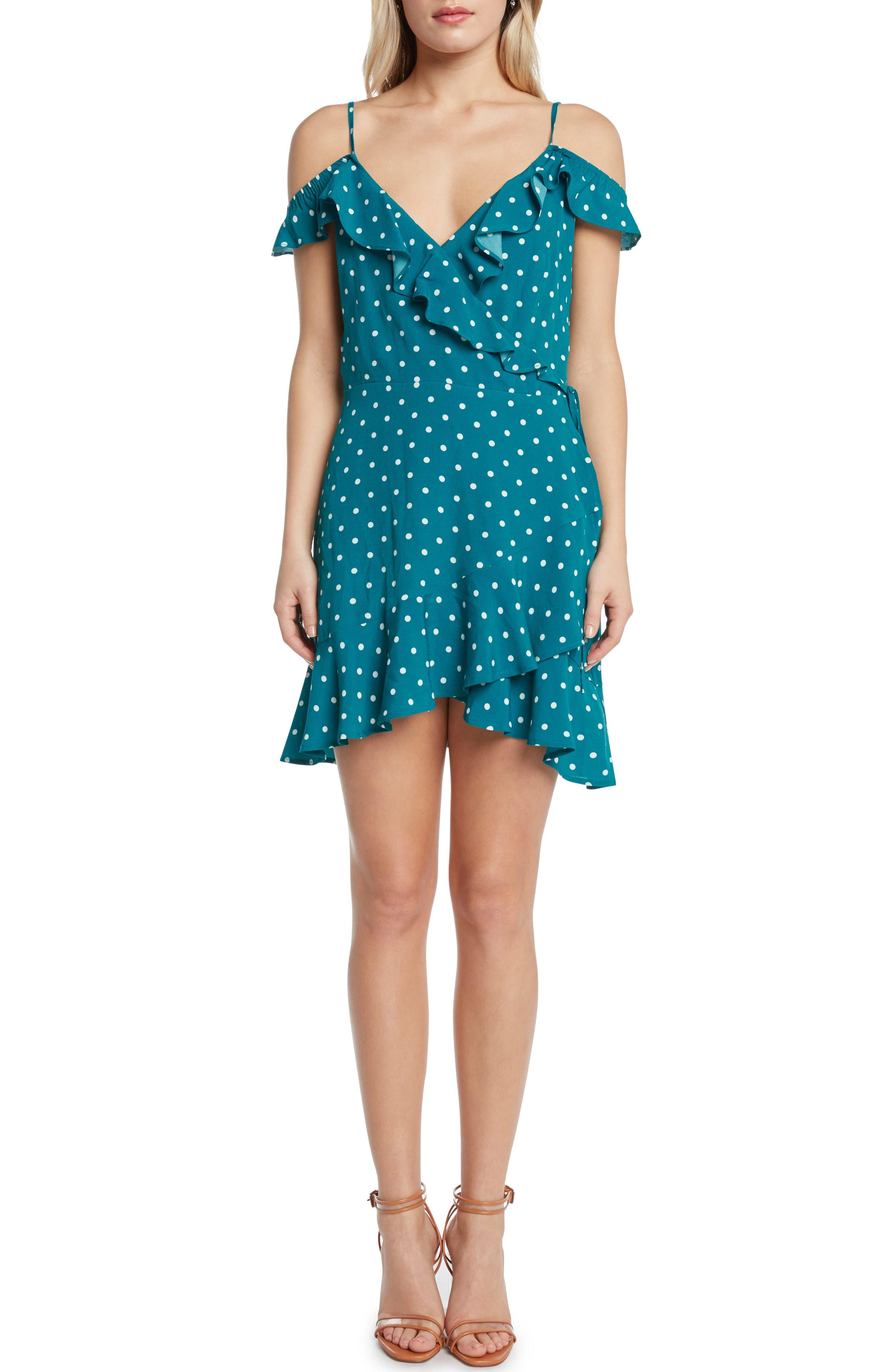 Polka Dot Cold Shoulder Wrap Dress,                         Main,                         color, Teal