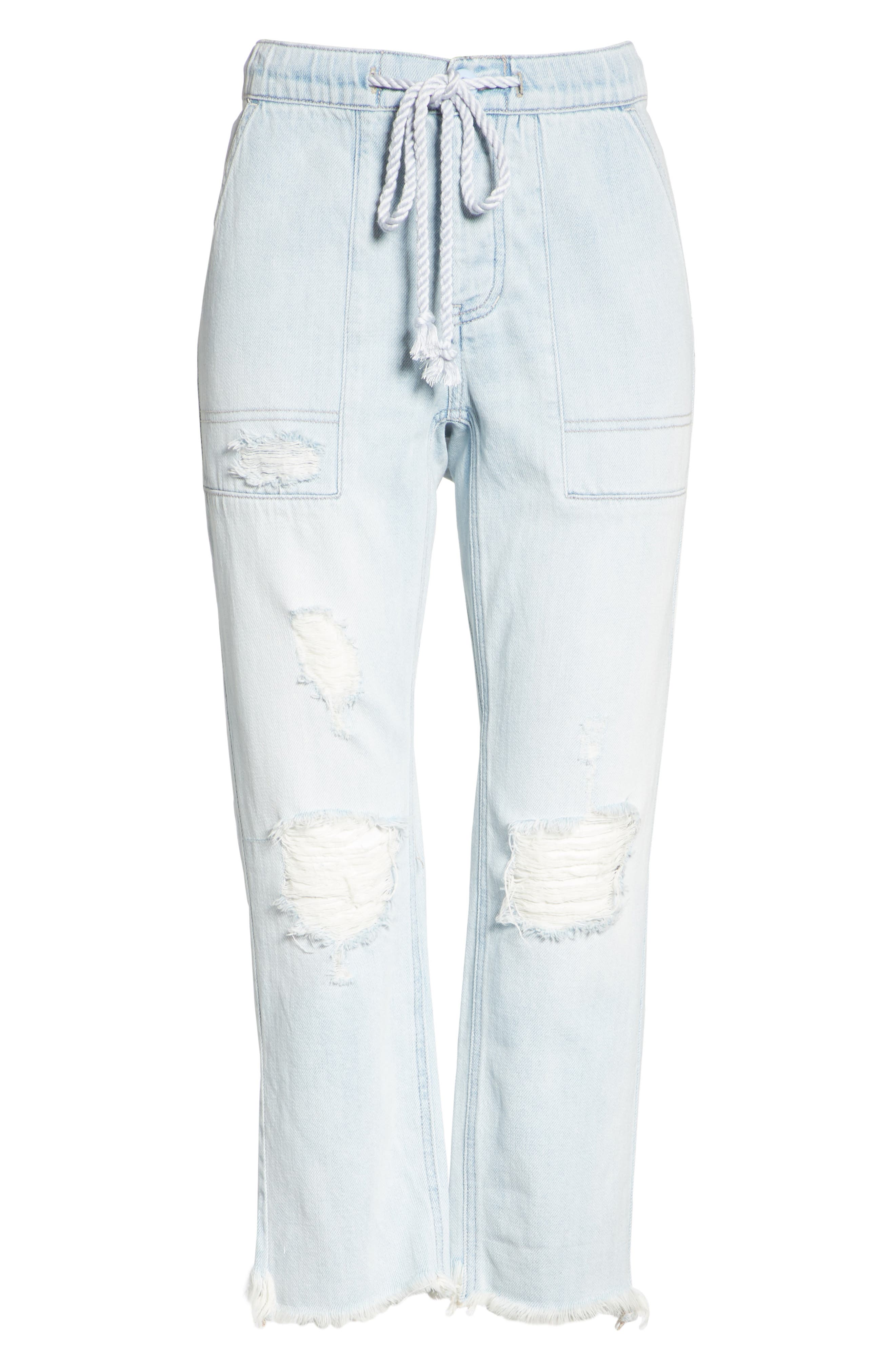 Northern Sky Ripped Crop Jeans,                             Alternate thumbnail 6, color,                             Blue