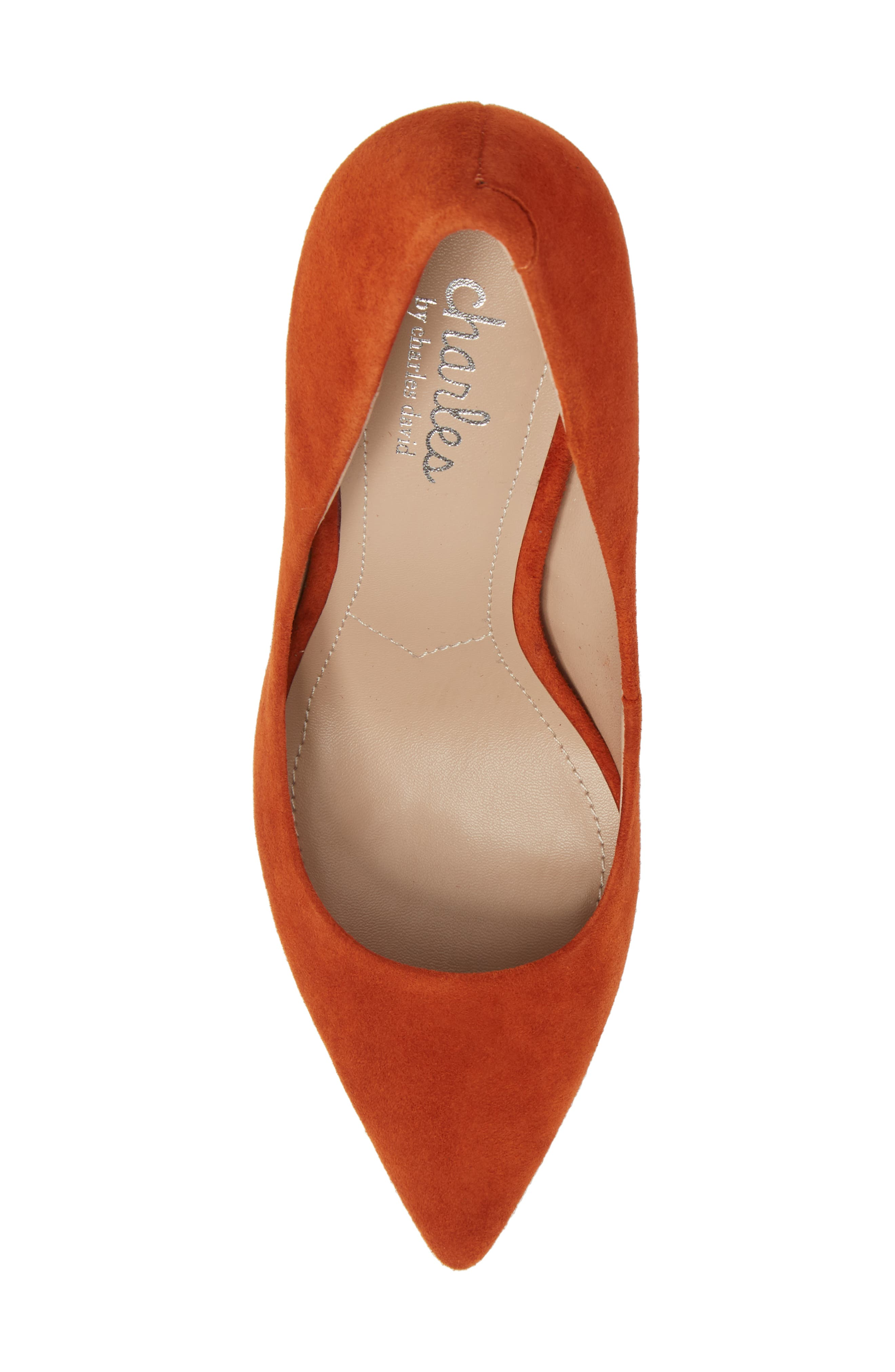 Maxx Pointy Toe Pump,                             Alternate thumbnail 4, color,                             Orange Suede