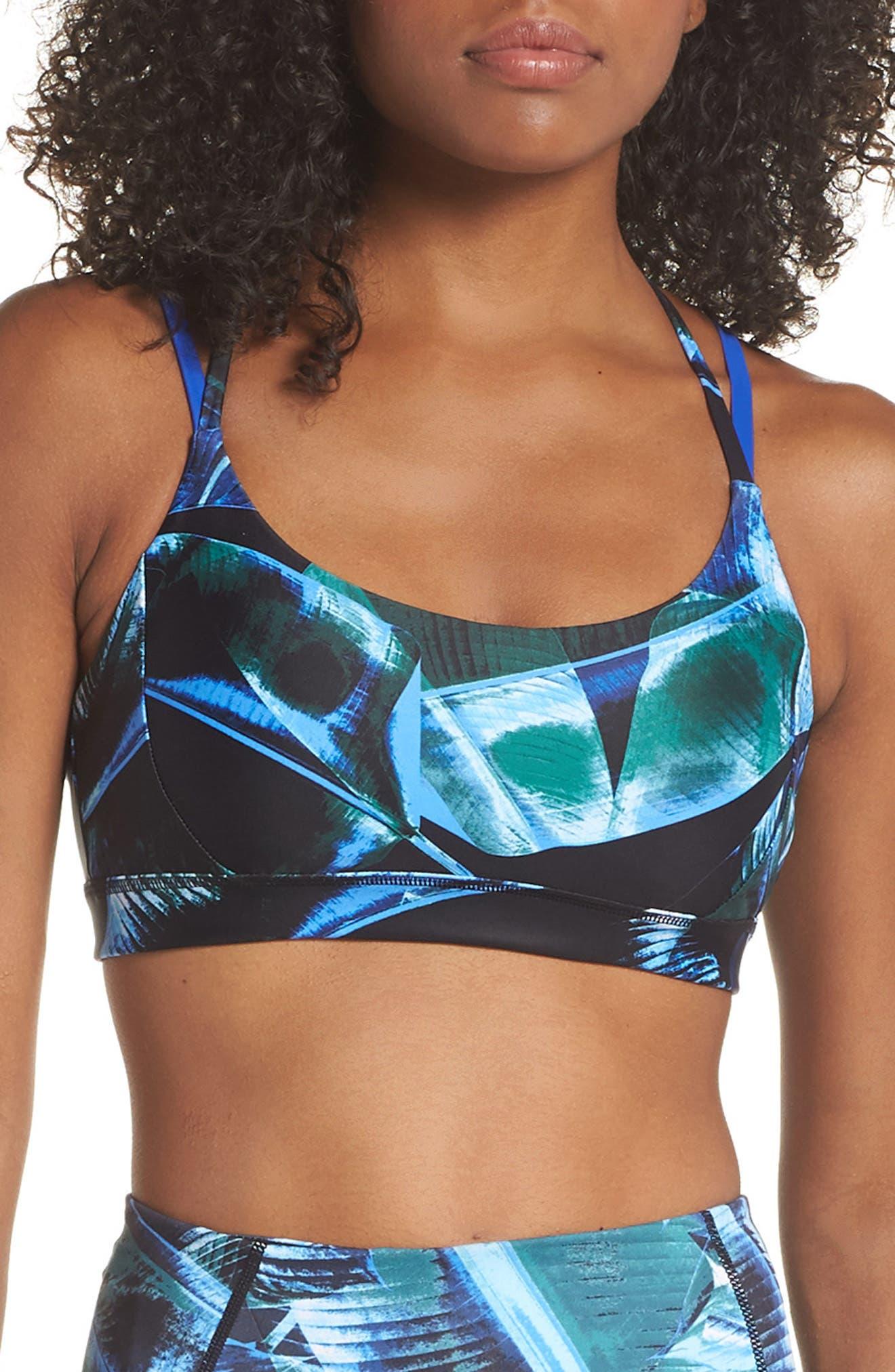 So Hot Print Sports Bra,                         Main,                         color, Green Bug Palm Haze Print