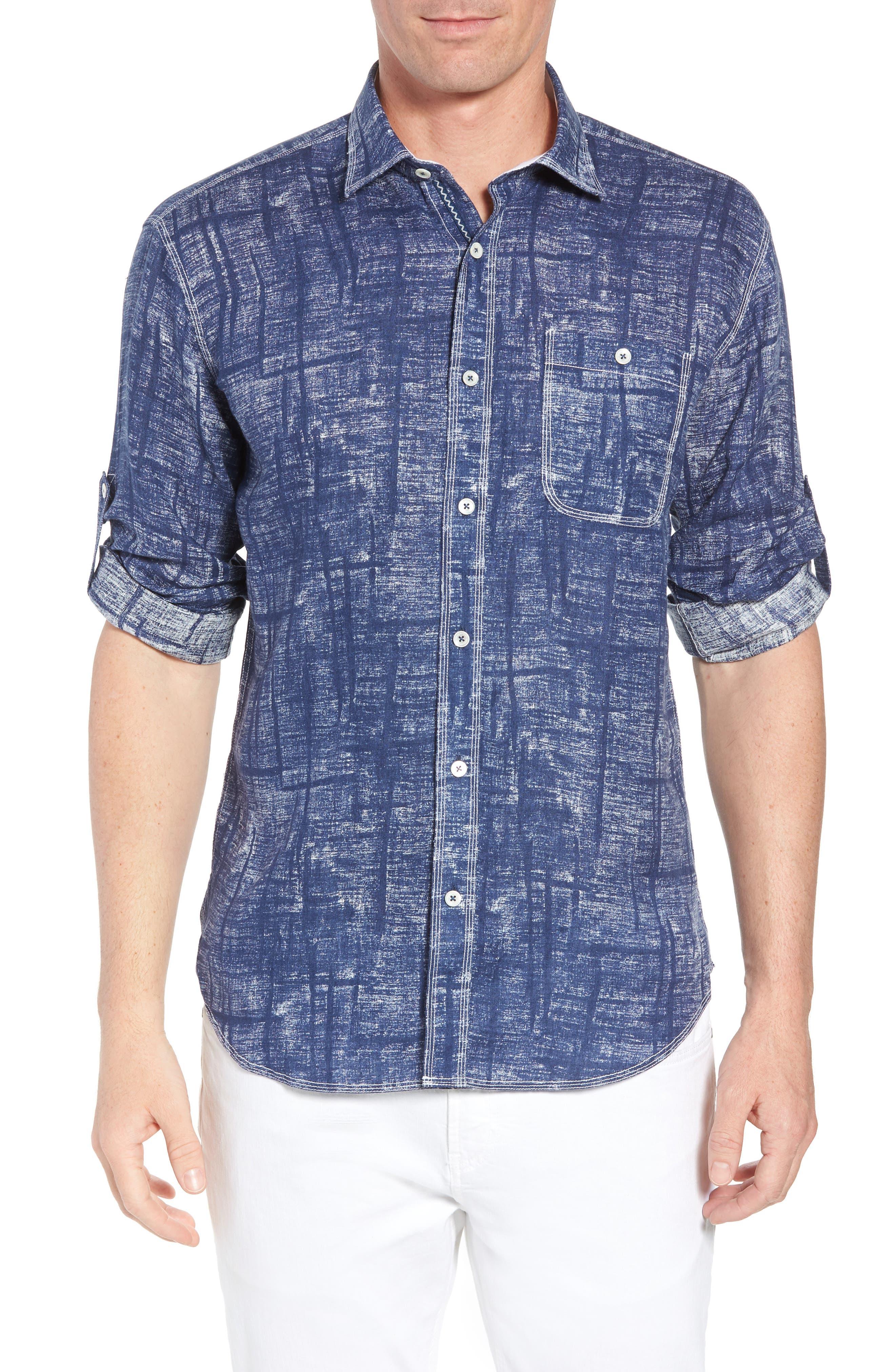 Shaped Fit Linen Sport Shirt,                             Main thumbnail 1, color,                             Navy