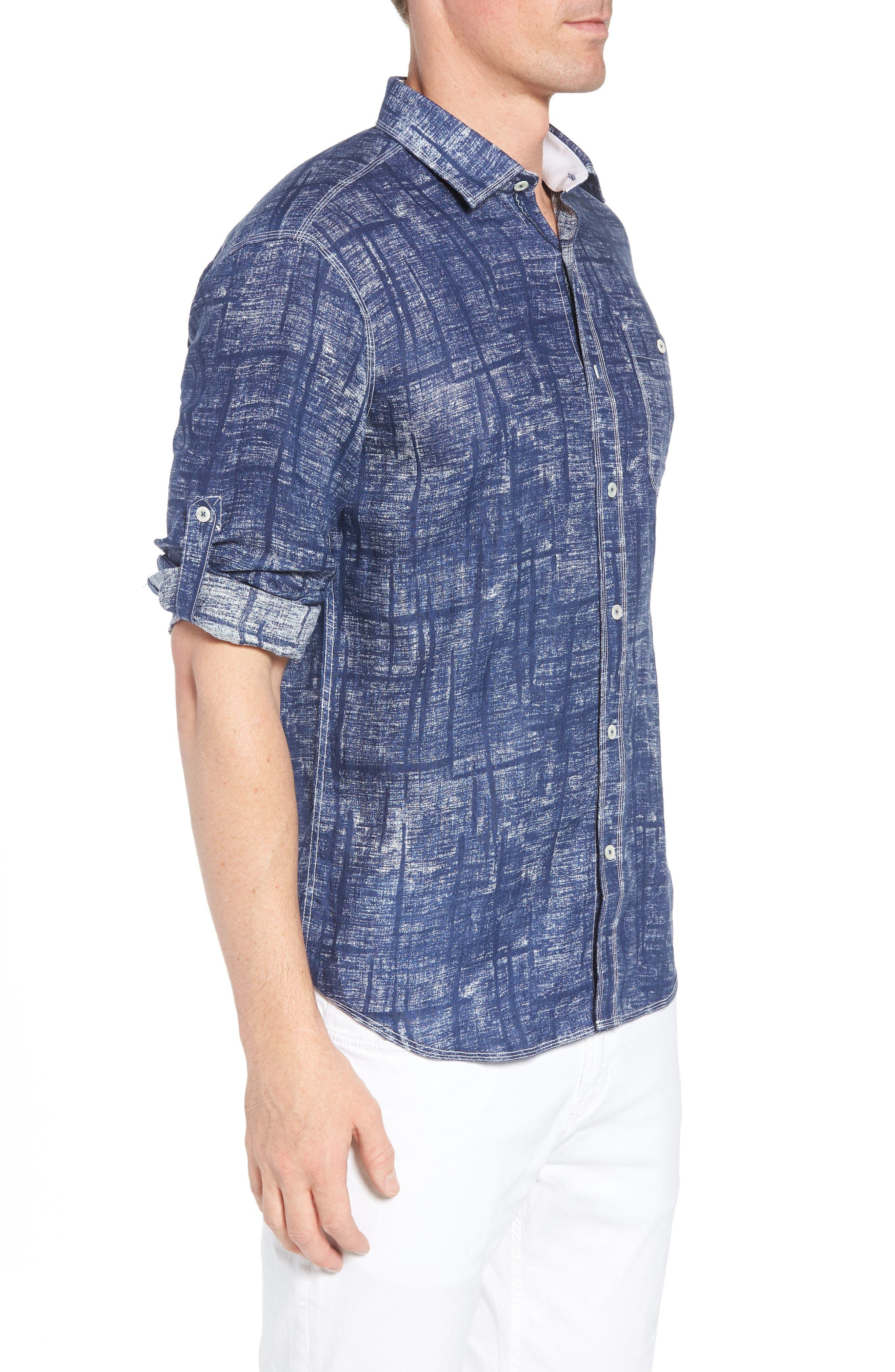 Shaped Fit Linen Sport Shirt,                             Alternate thumbnail 4, color,                             Navy