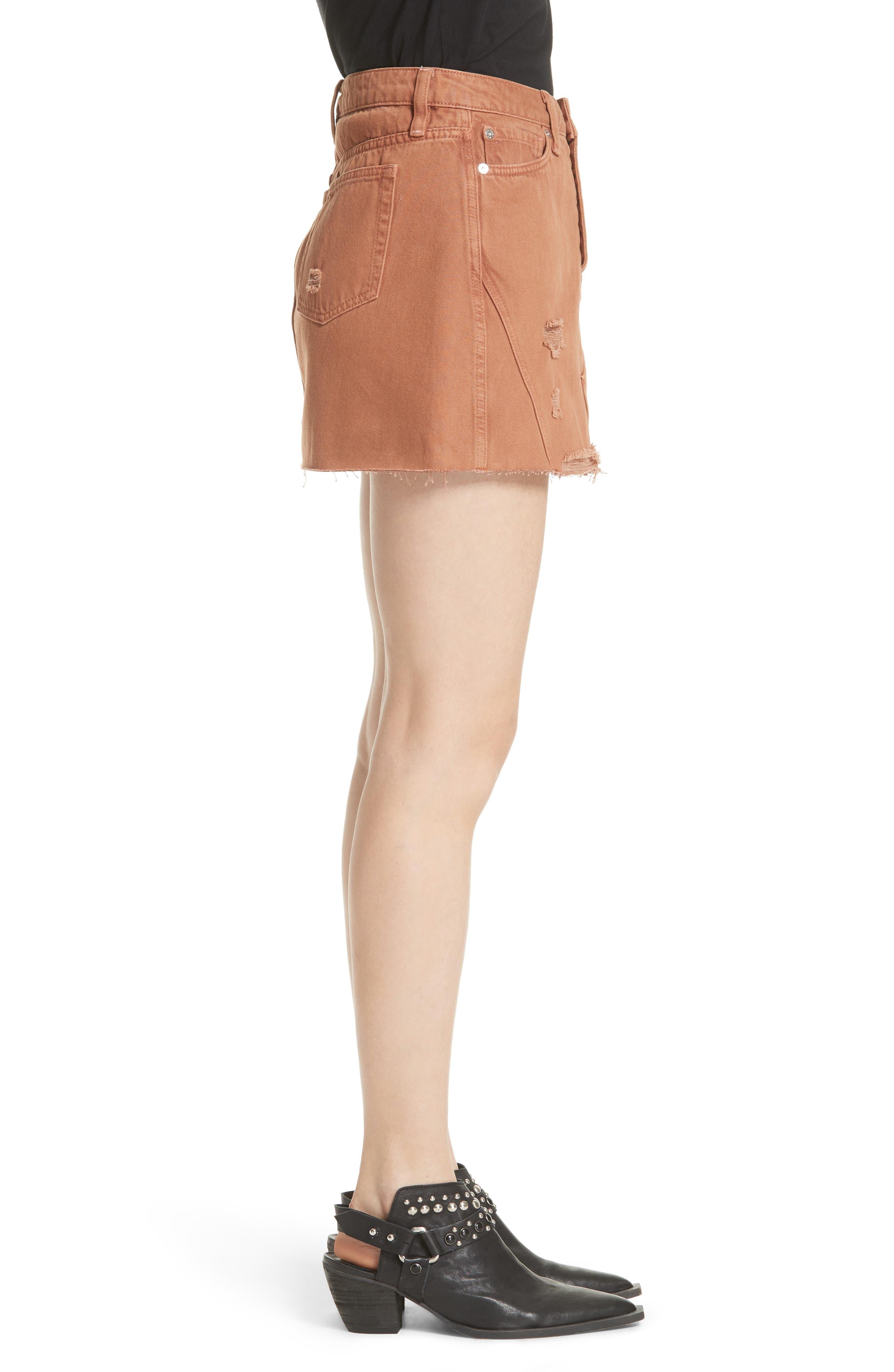 Denim A-Line Skirt,                             Alternate thumbnail 3, color,                             Bronze