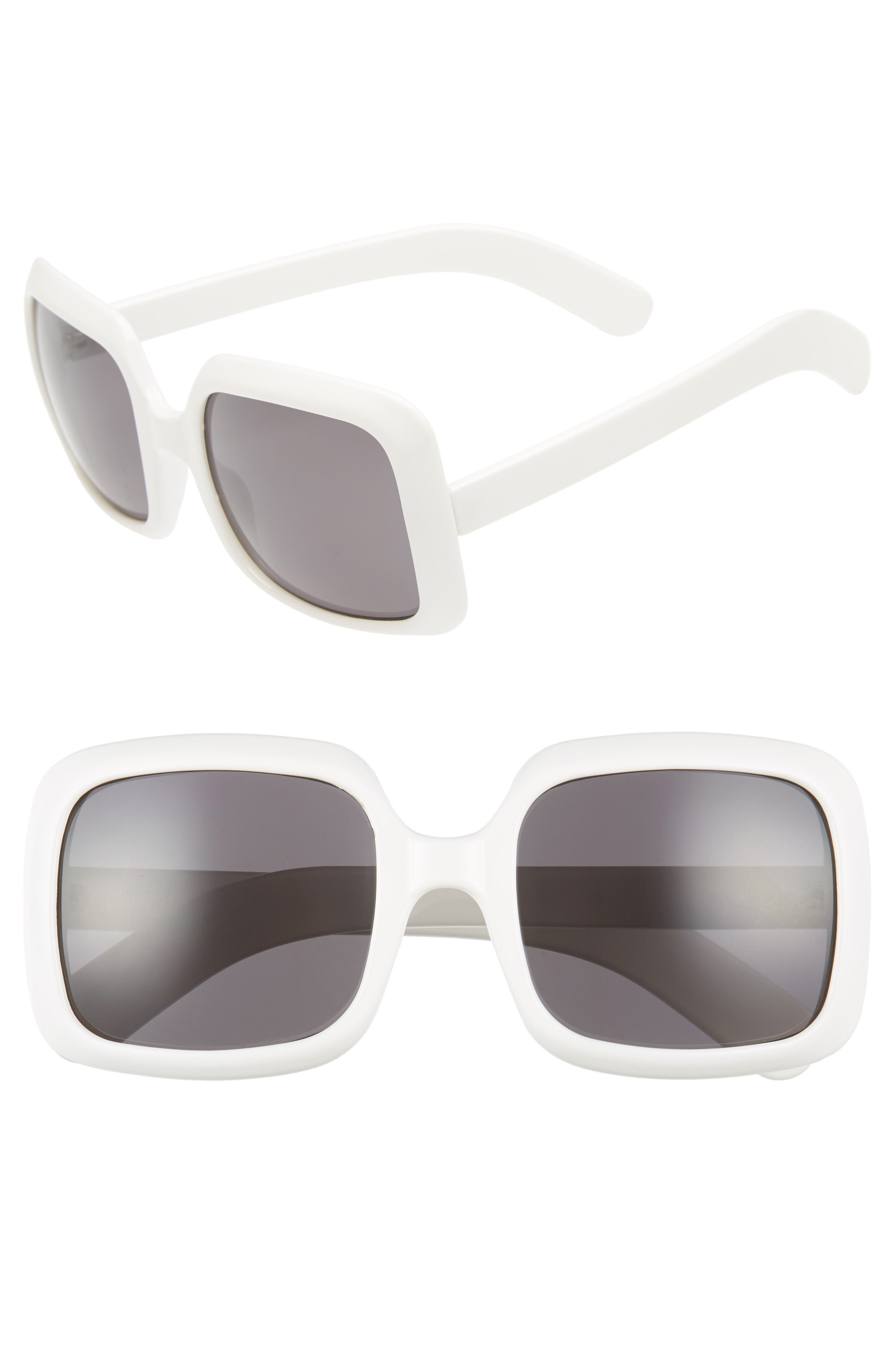 54mm Retro Square Sunglasses,                             Main thumbnail 1, color,                             White/ Black